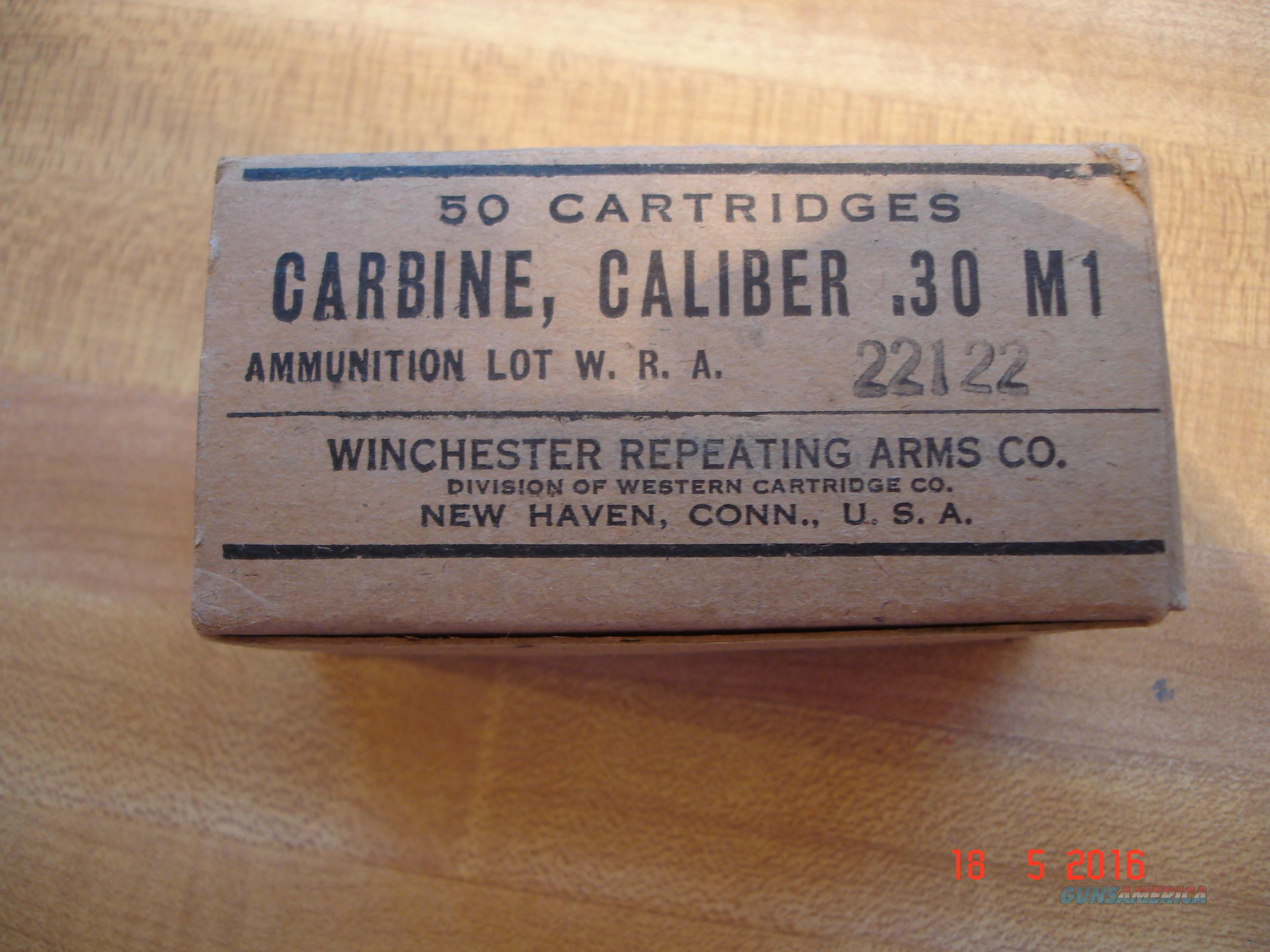 Vintage.30 cal. carbine M1 Winchester MFG for the Military Full Box Dated 1944  Non-Guns > Ammunition