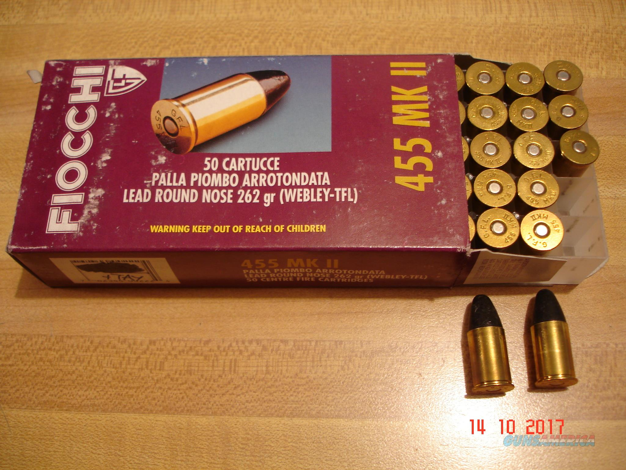 FIOCCHI .455 MKII .455 ELEY 262gr. LRN Ctgs. NIB Hard to find  Non-Guns > Ammunition