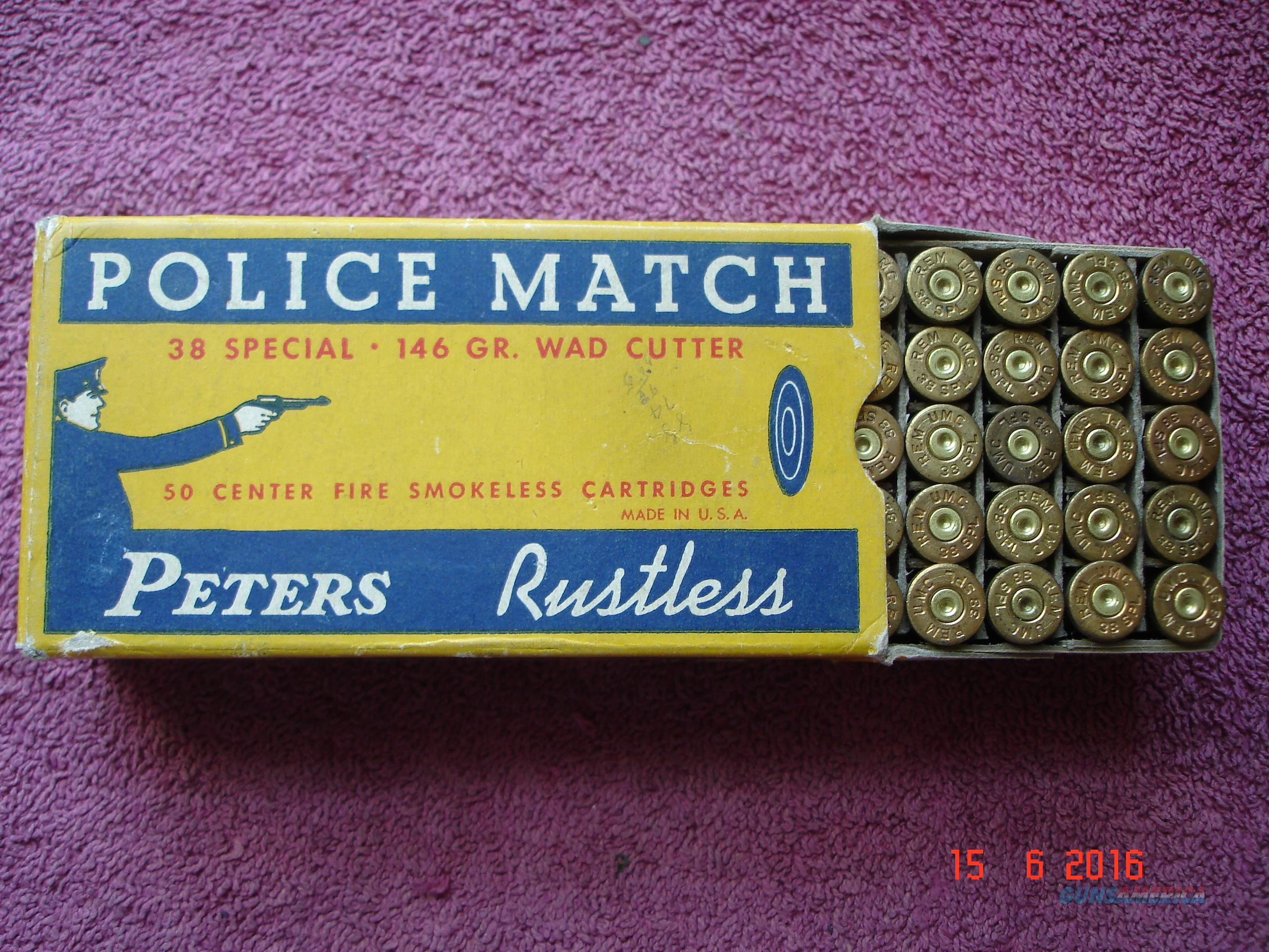 Rare Vintage  Peters Police Match .38Spec. 146gr WC Ctg Box with 50 fired Brass cases  Non-Guns > Ammunition