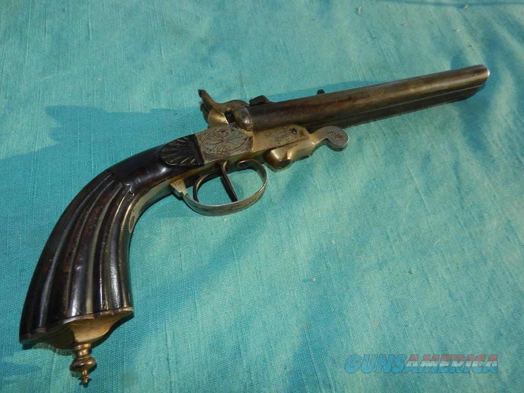 DOUBLE BARREL PIN FIRE 11MM PISTOL  Guns > Pistols > Antique (Pre-1899) Pistols - Ctg. Misc.