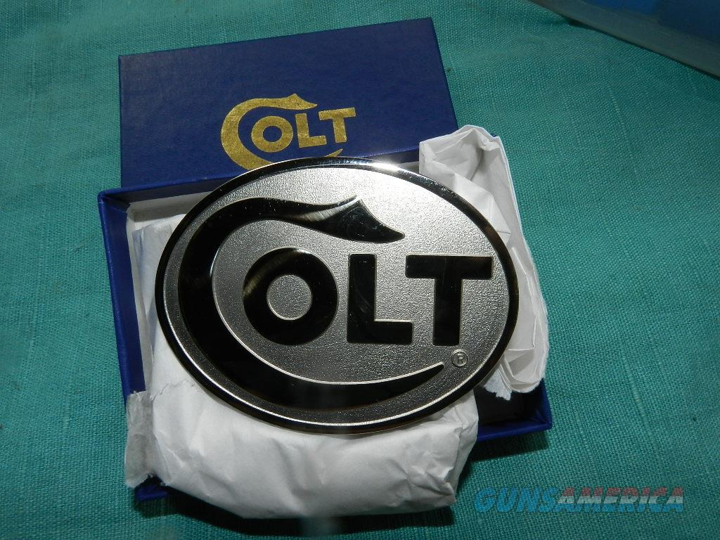 COLT LARGE FACTORY LOGO NICKLE PLATED BELT BUCKLE  Non-Guns > Logo & Clothing Merchandise
