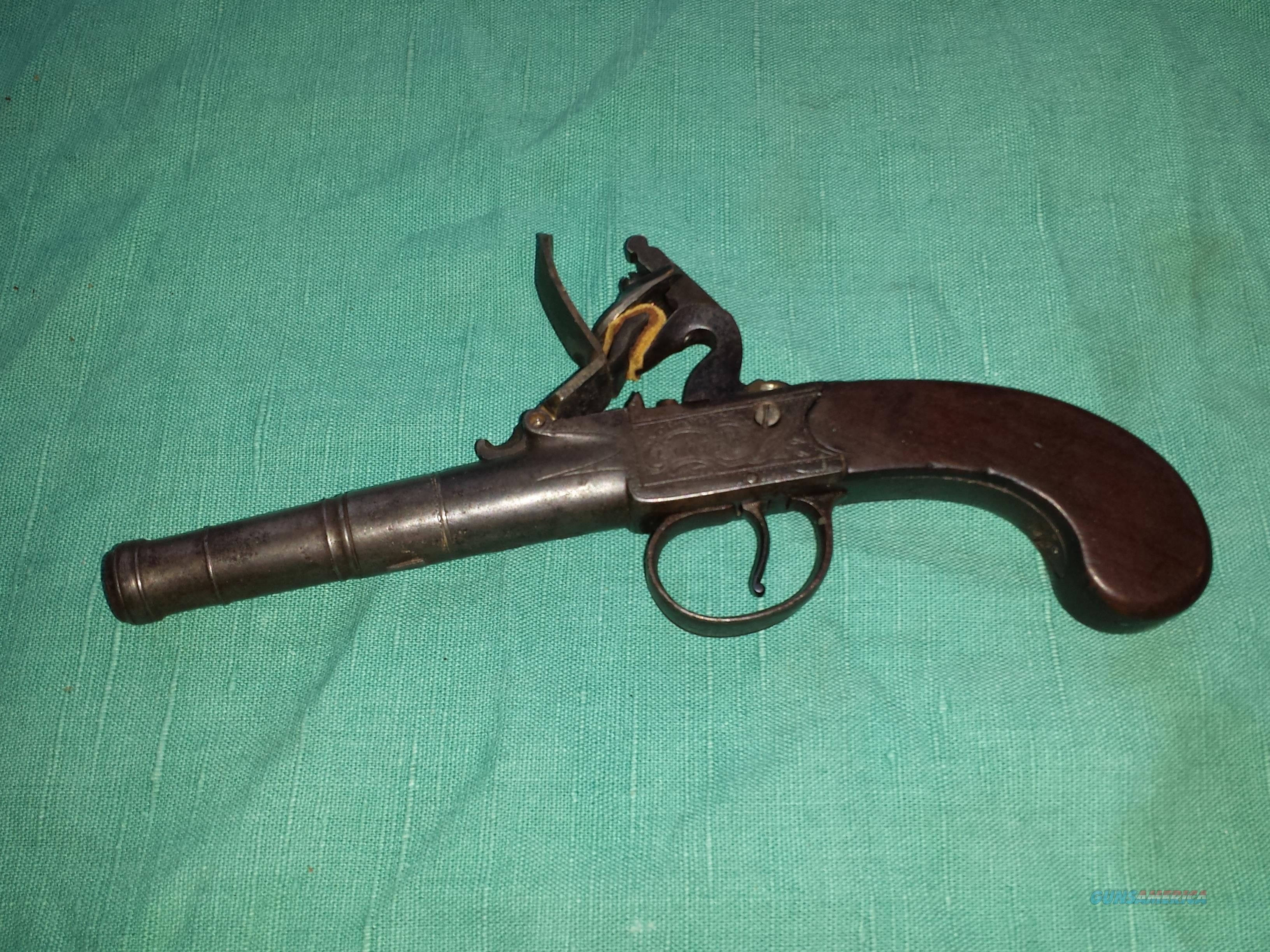 I Collis Queen Anne Center Hammer Flintlock  Guns > Pistols > Muzzleloading Pre-1899 Pistols (flint)