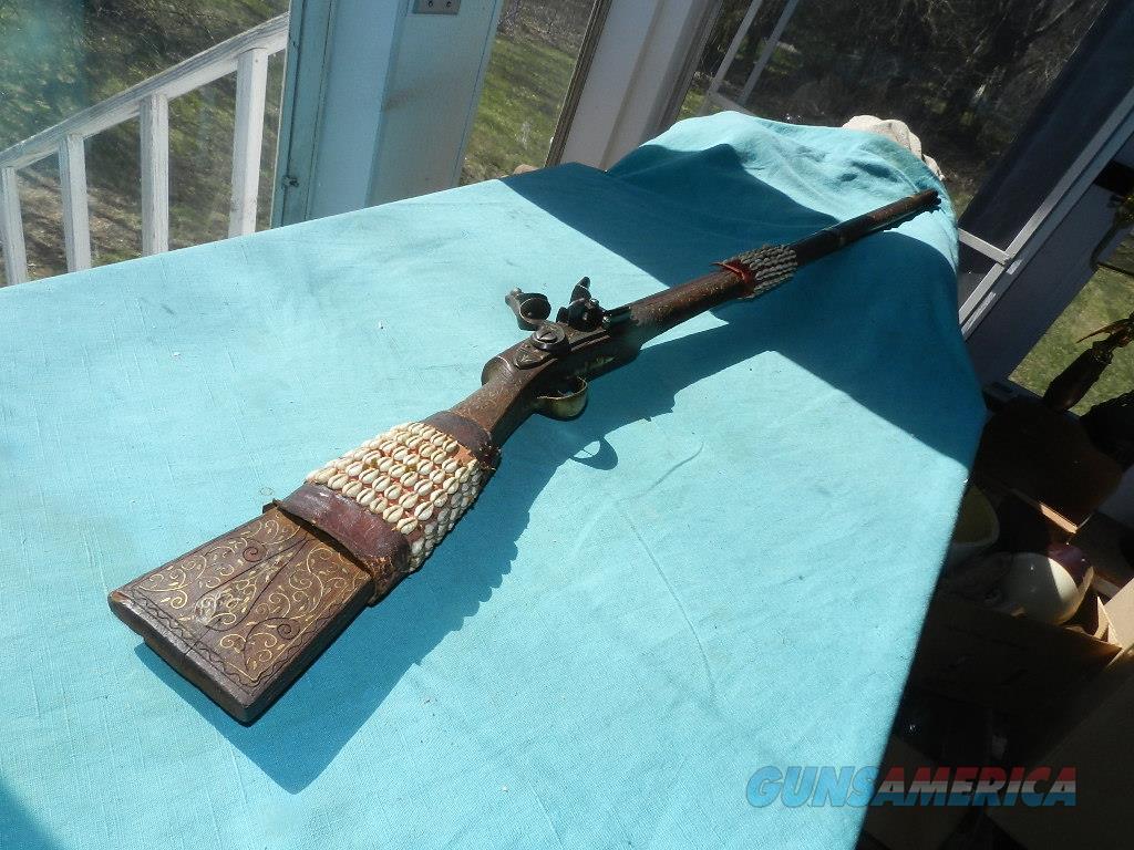 PIRATE FLINT DECORATED MUSKET .75CAL.  Guns > Rifles > Muzzleloading Pre-1899 Rifles (flint)