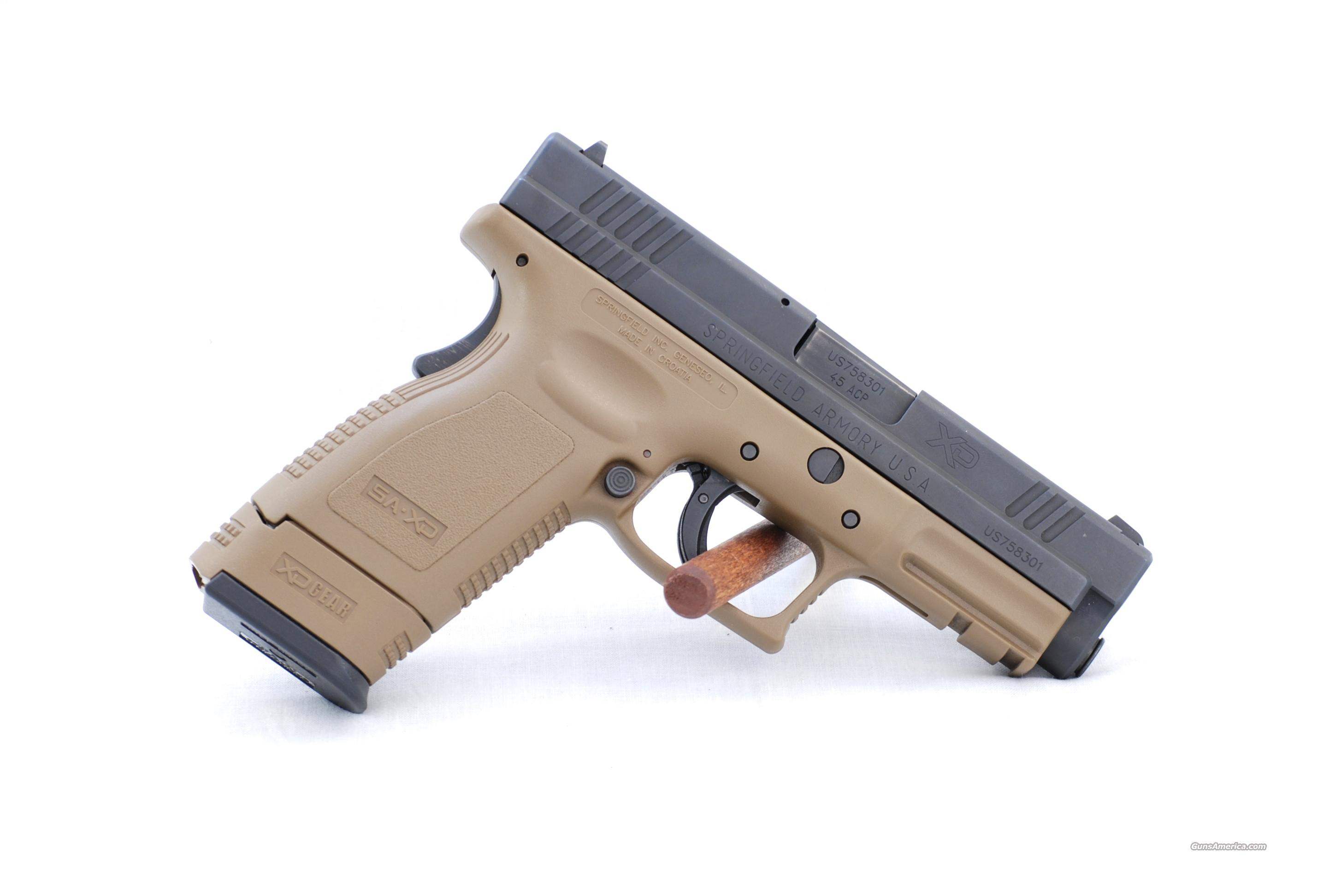 "Springfield XD 45 Compact 4"" Desert Tan  Guns > Pistols > Springfield Armory Pistols > XD (eXtreme Duty)"