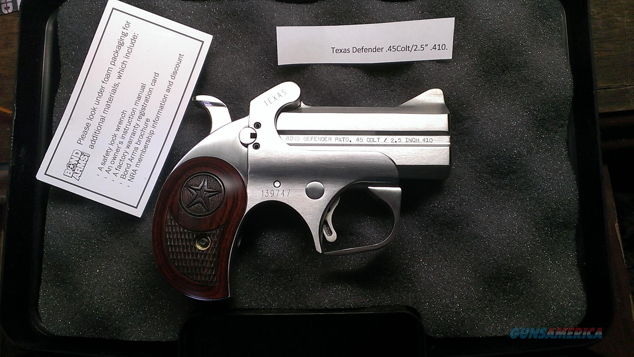 Bond Arms Texas Defender Derringer .45/.410.   No Credit Card or shipping Charge.  Guns > Pistols > Bond Derringers