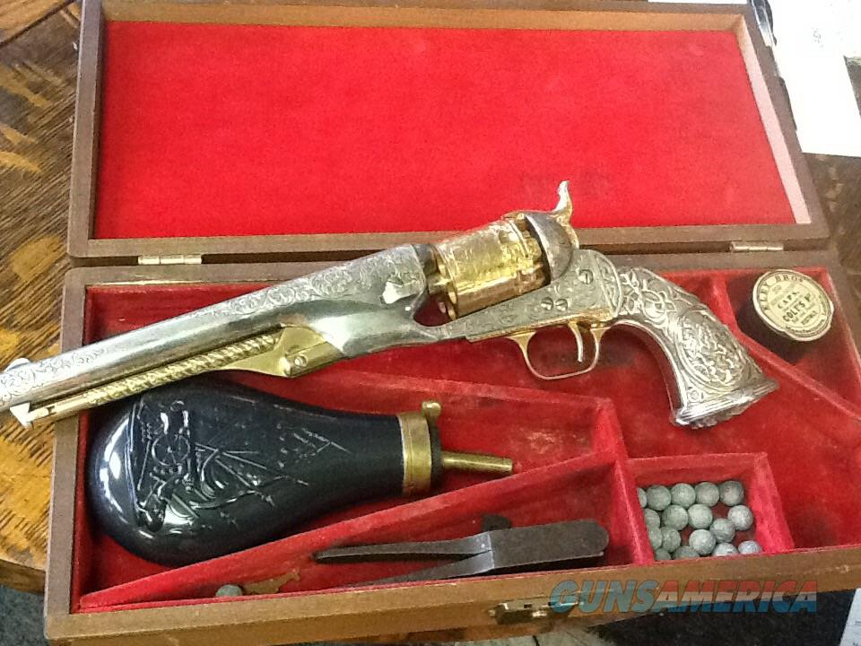 Colt  1851 navy 36 cal Engraved Tiffany grip gold and silver plated heritage model cased  Guns > Pistols > Colt Percussion Revolver - Modern