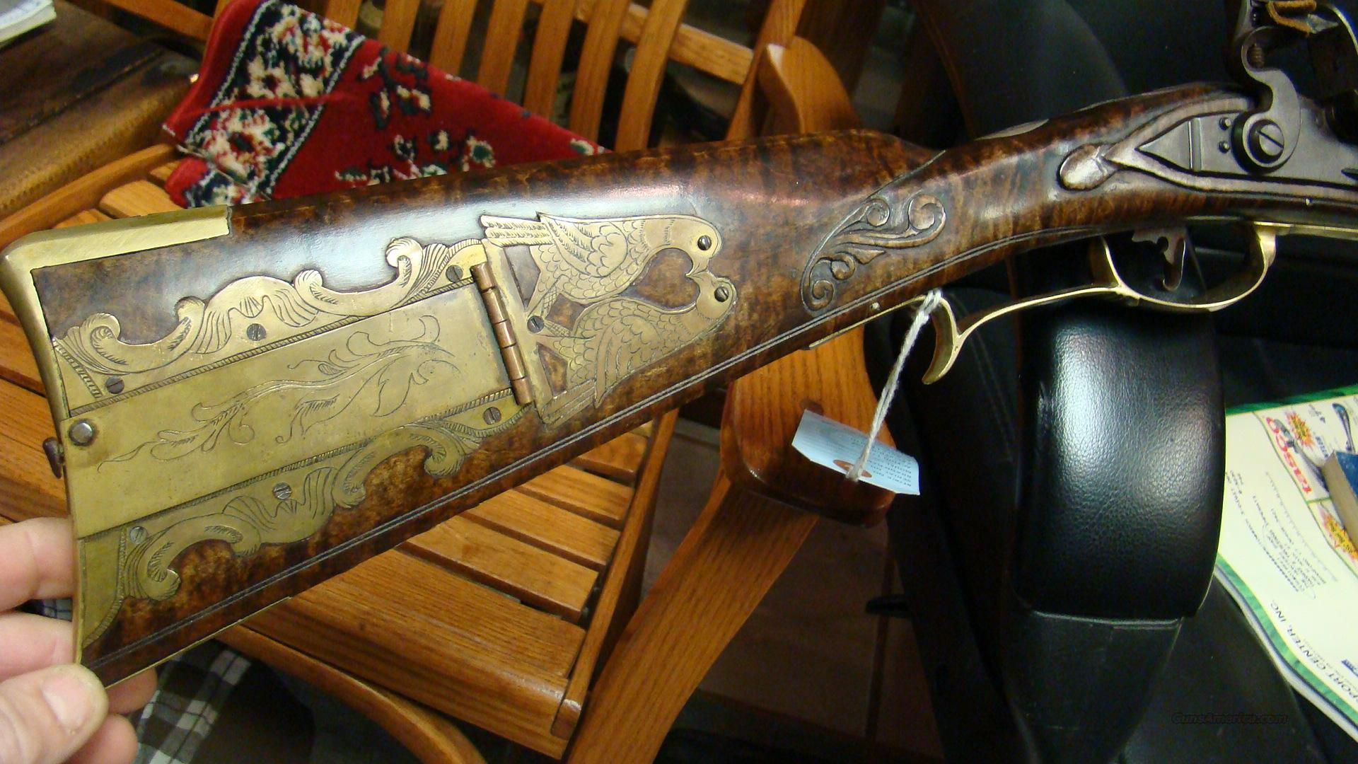 M STICKLER CUSTOM FLINT KENTUCKY LONGRIFLE CARVED NICE  Guns > Rifles > Custom Muzzleloader Rifles > Flintlock