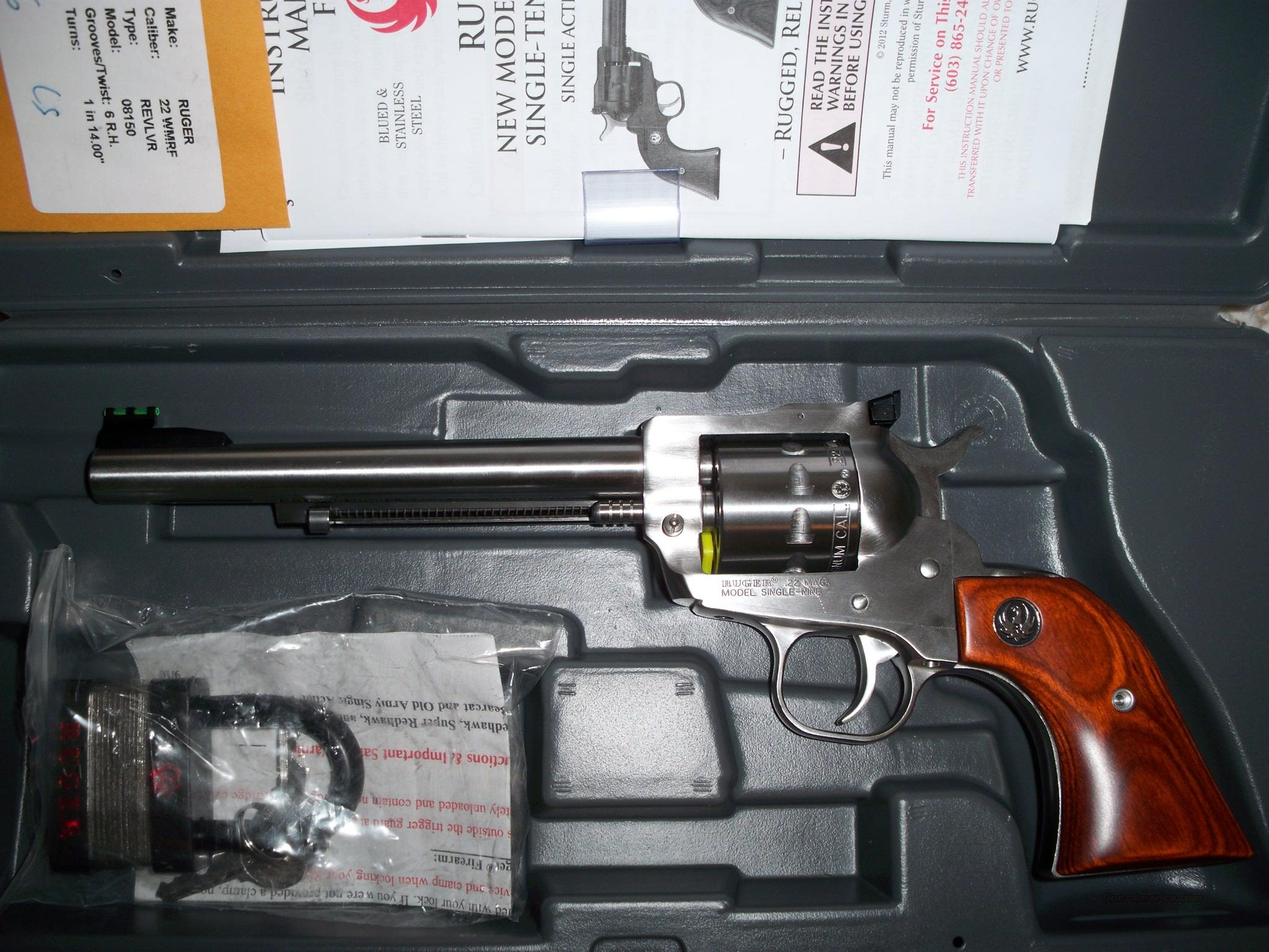 "RUGER SINGLE-NINE .22WMR 9-SHT 6.5"" AS STAINLESS  Guns > Pistols > Ruger Single Action Revolvers > Single Six Type"