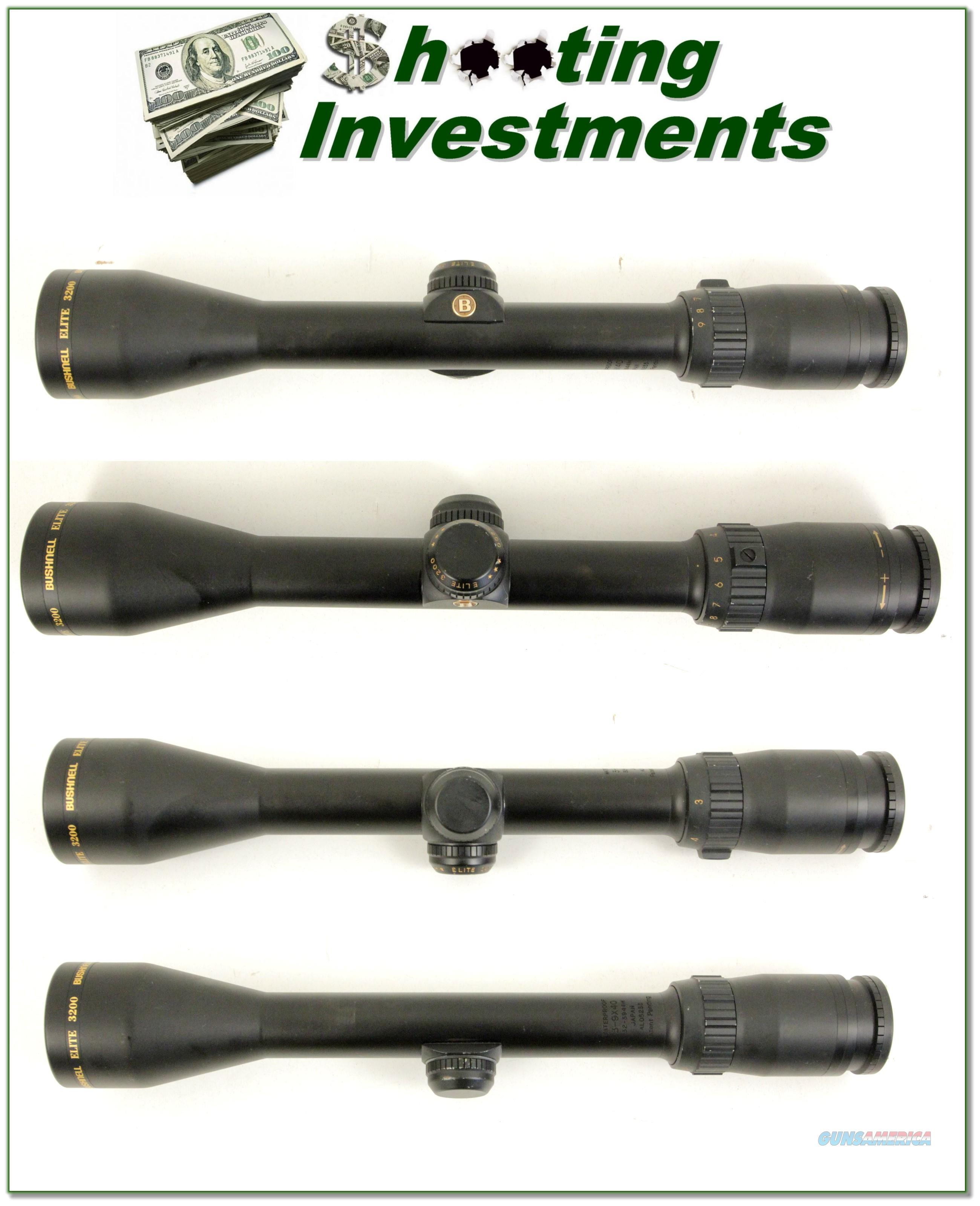 Bushnell Elite 3200 3-9 X 40 rifle scope Matt Exc Cond!  Non-Guns > Scopes/Mounts/Rings & Optics > Rifle Scopes > Variable Focal Length