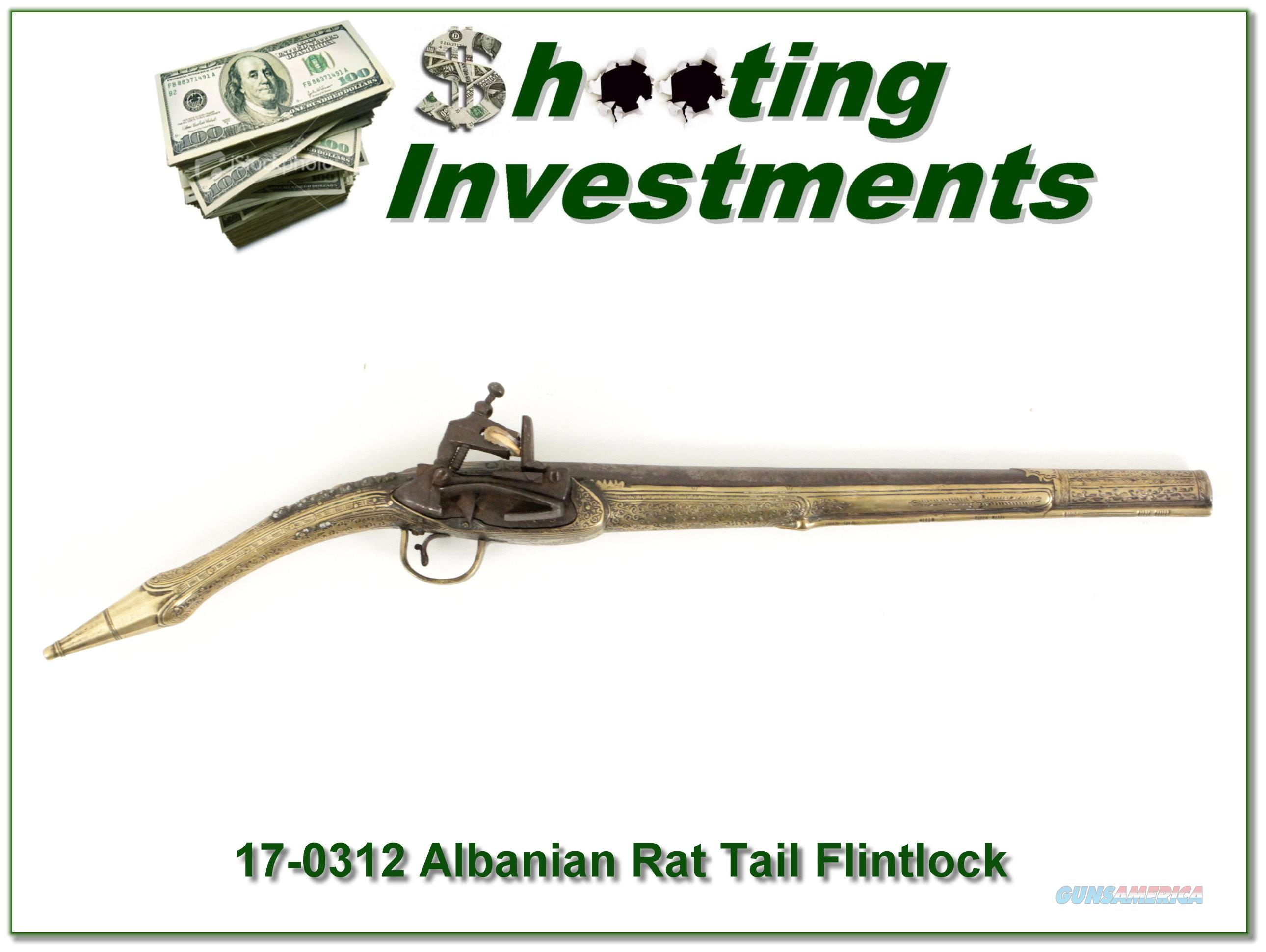 Albanian Rat Tail Miquelet Flintlock Antique!  Guns > Pistols > Muzzleloading Pre-1899 Pistols (flint)