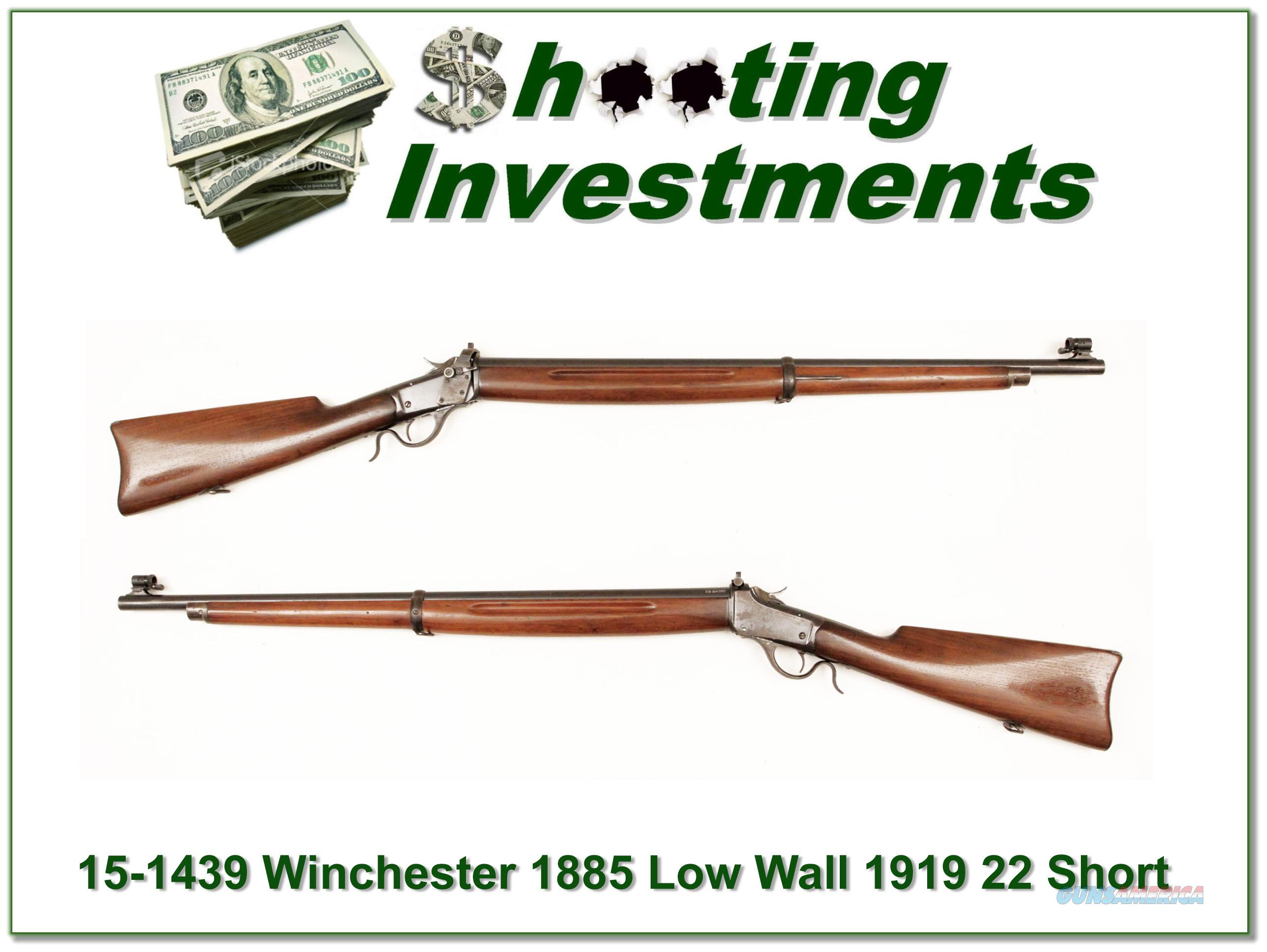 Winchester 1885 Low Wall 22 Short Musket 1919  Guns > Rifles > Winchester Rifles - Modern Bolt/Auto/Single > Single Shot