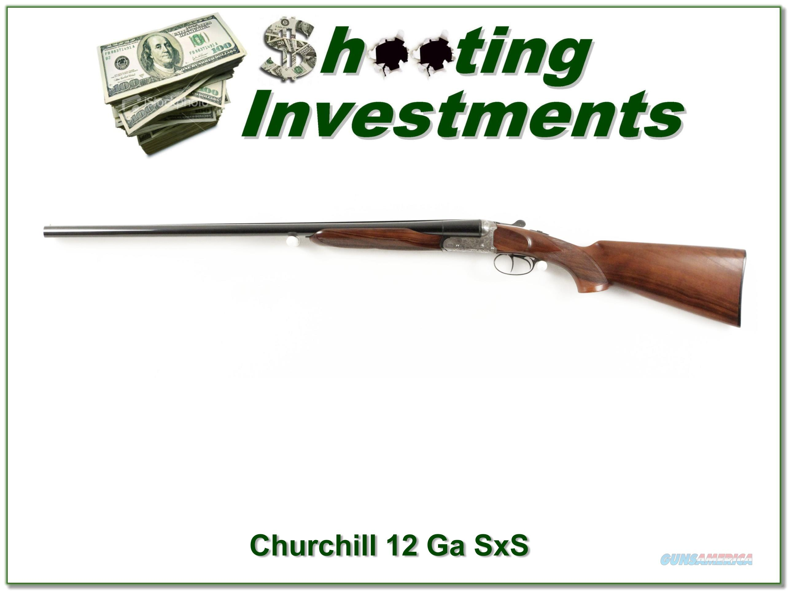 Churchill Side by Side 12 Gauge nice engraving Exc  Guns > Shotguns > C Misc Shotguns