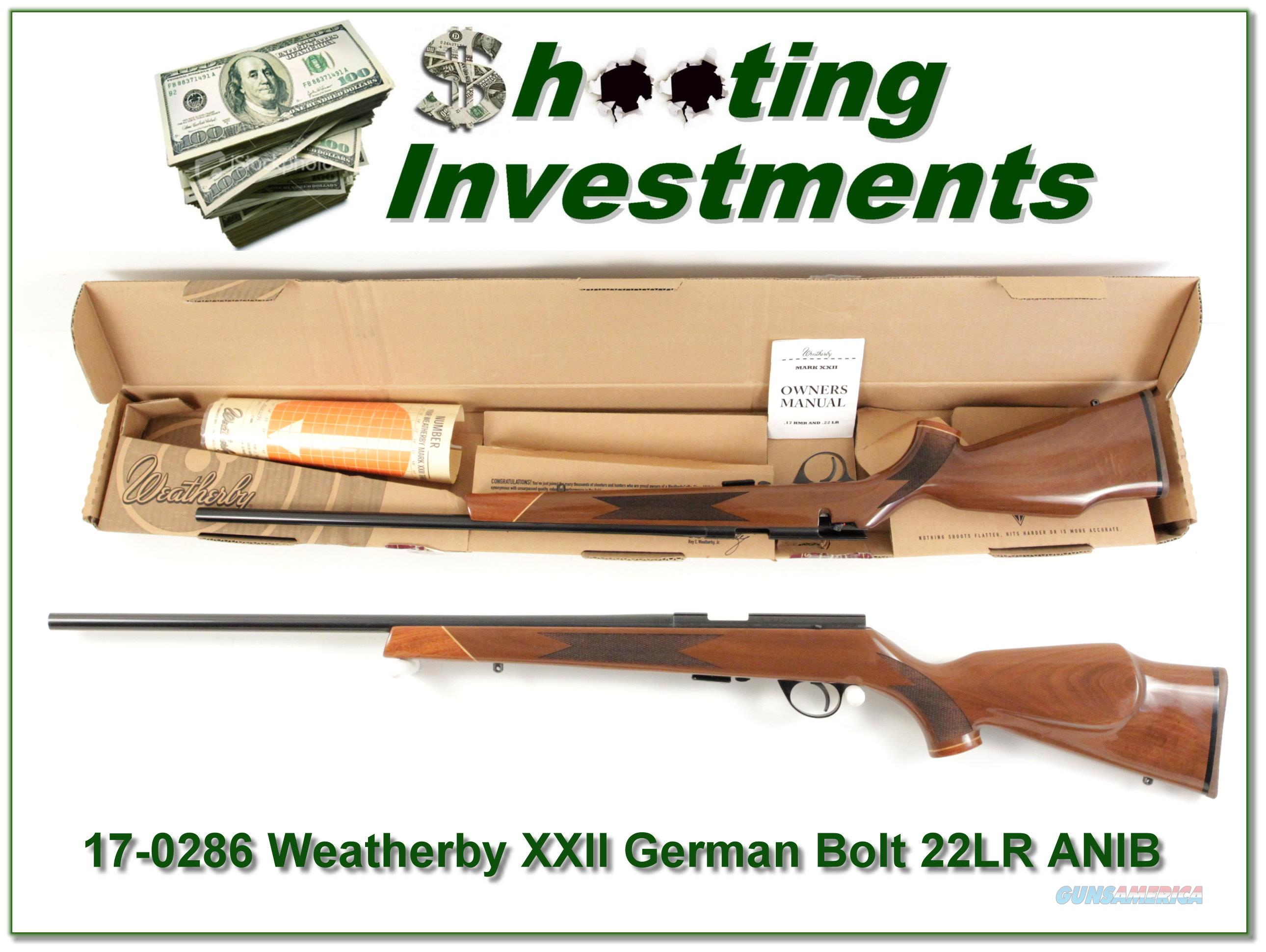 Weatherby XXII 22 Bolt action Anschutz made ANIB  Guns > Rifles > Weatherby Rifles > Sporting