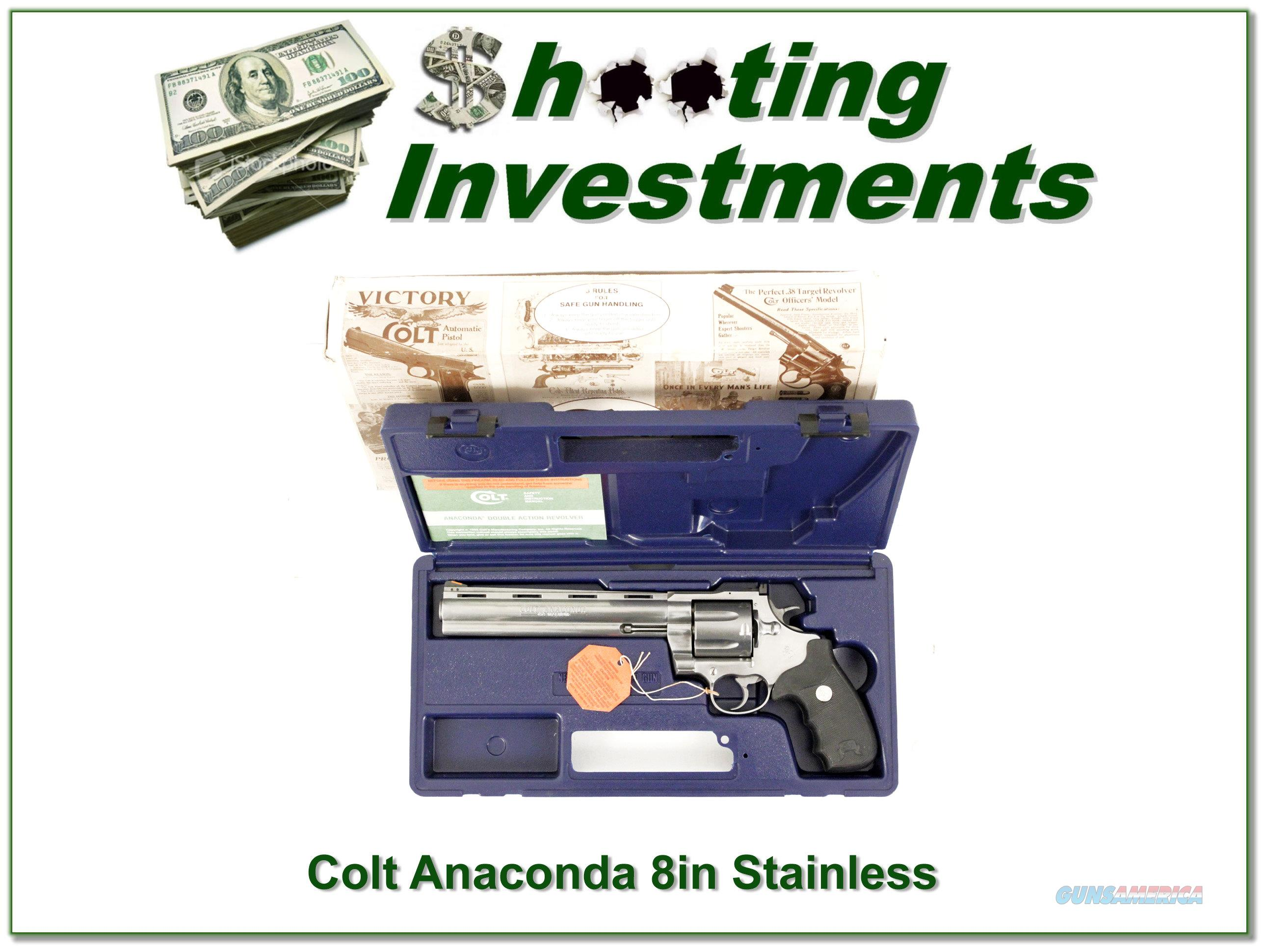 Colt Anaconda 8in Stainless in case with box!  Guns > Pistols > Colt Double Action Revolvers- Modern