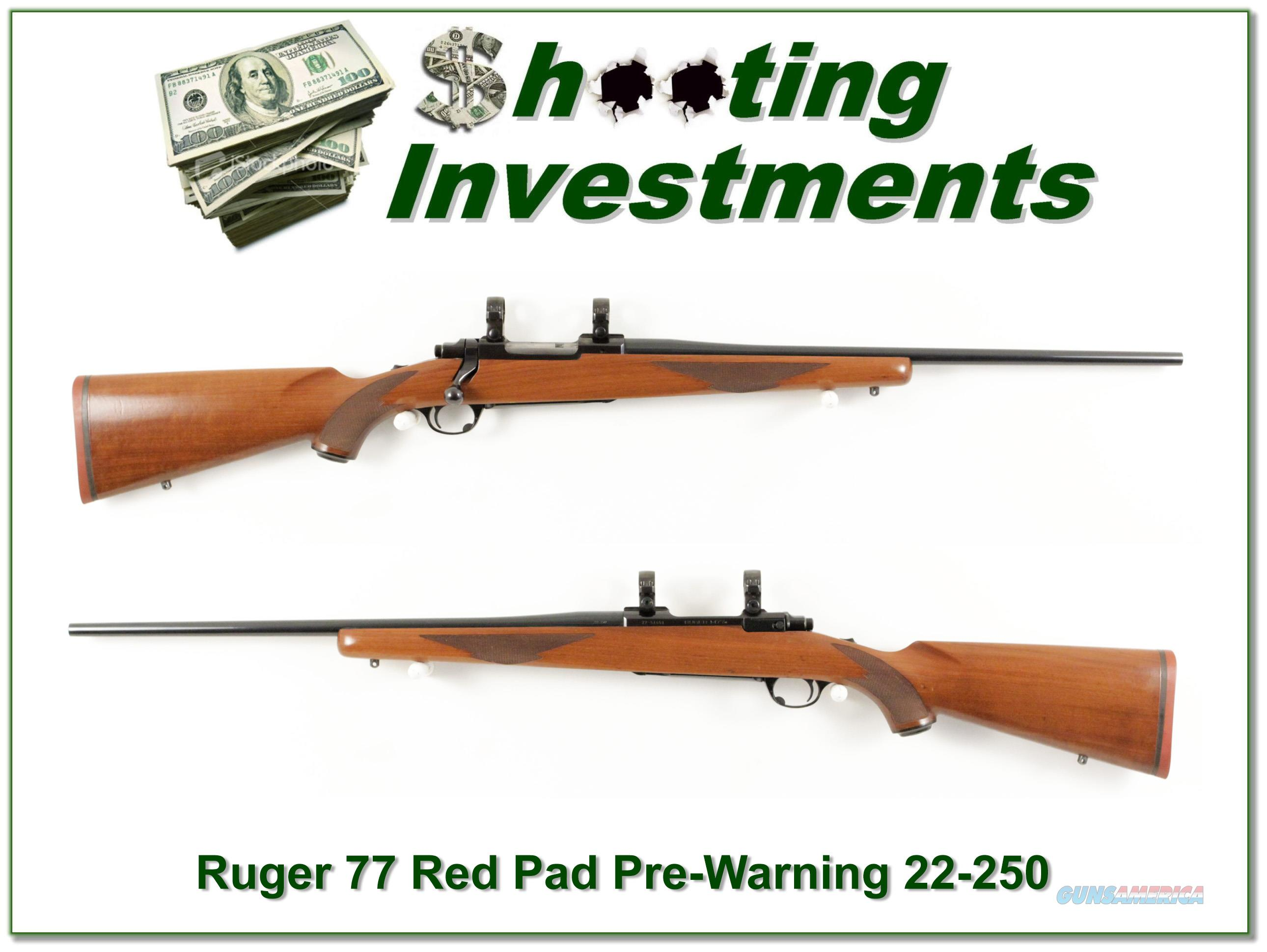 Ruger 77 22-250 Rem Red Pad Pre-warning  Guns > Rifles > Ruger Rifles > Model 77