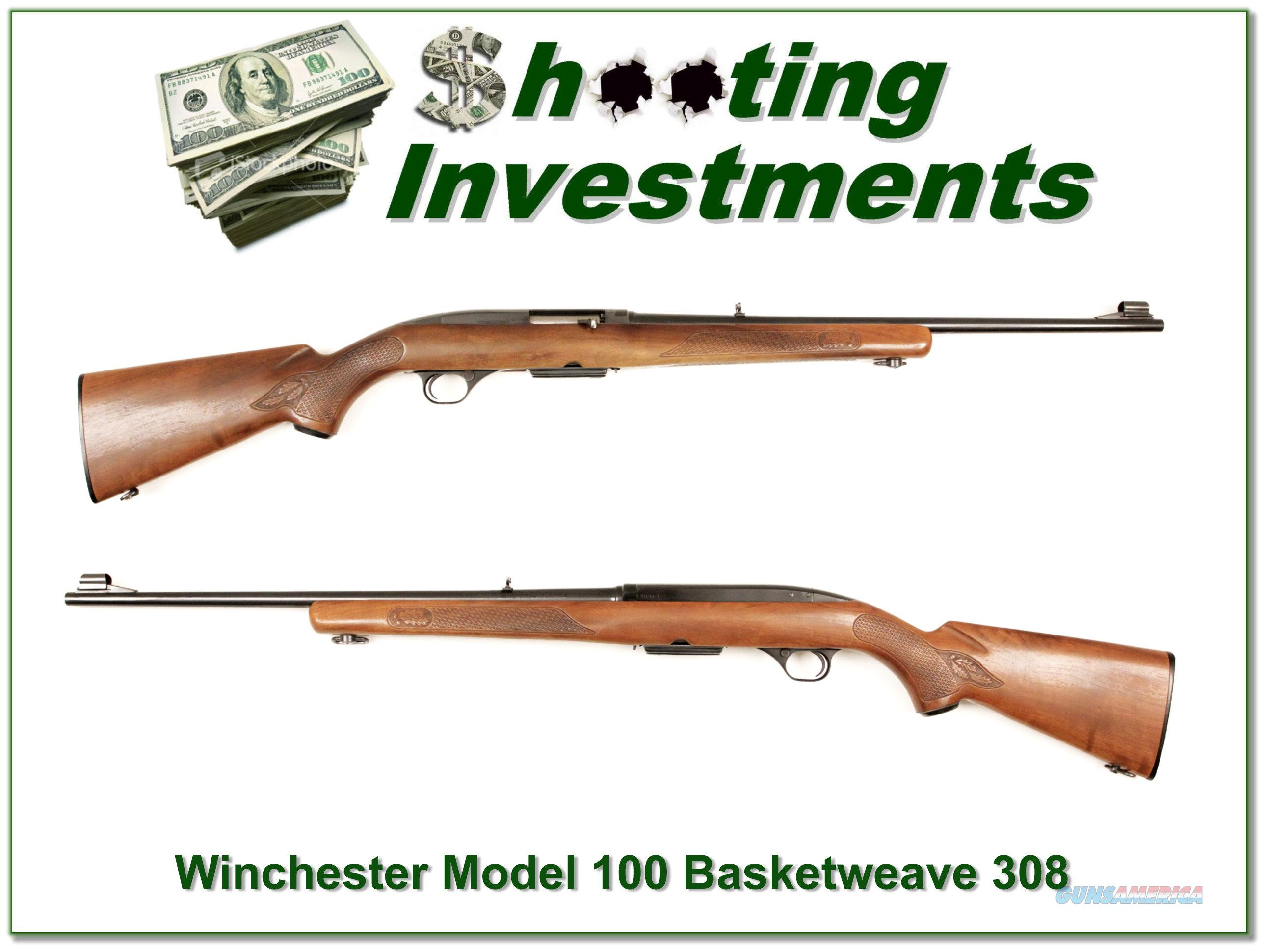 Winchester Model 100 308 Basket Weave Exc Cond!  Guns > Rifles > Winchester Rifles - Modern Bolt/Auto/Single > Autoloaders