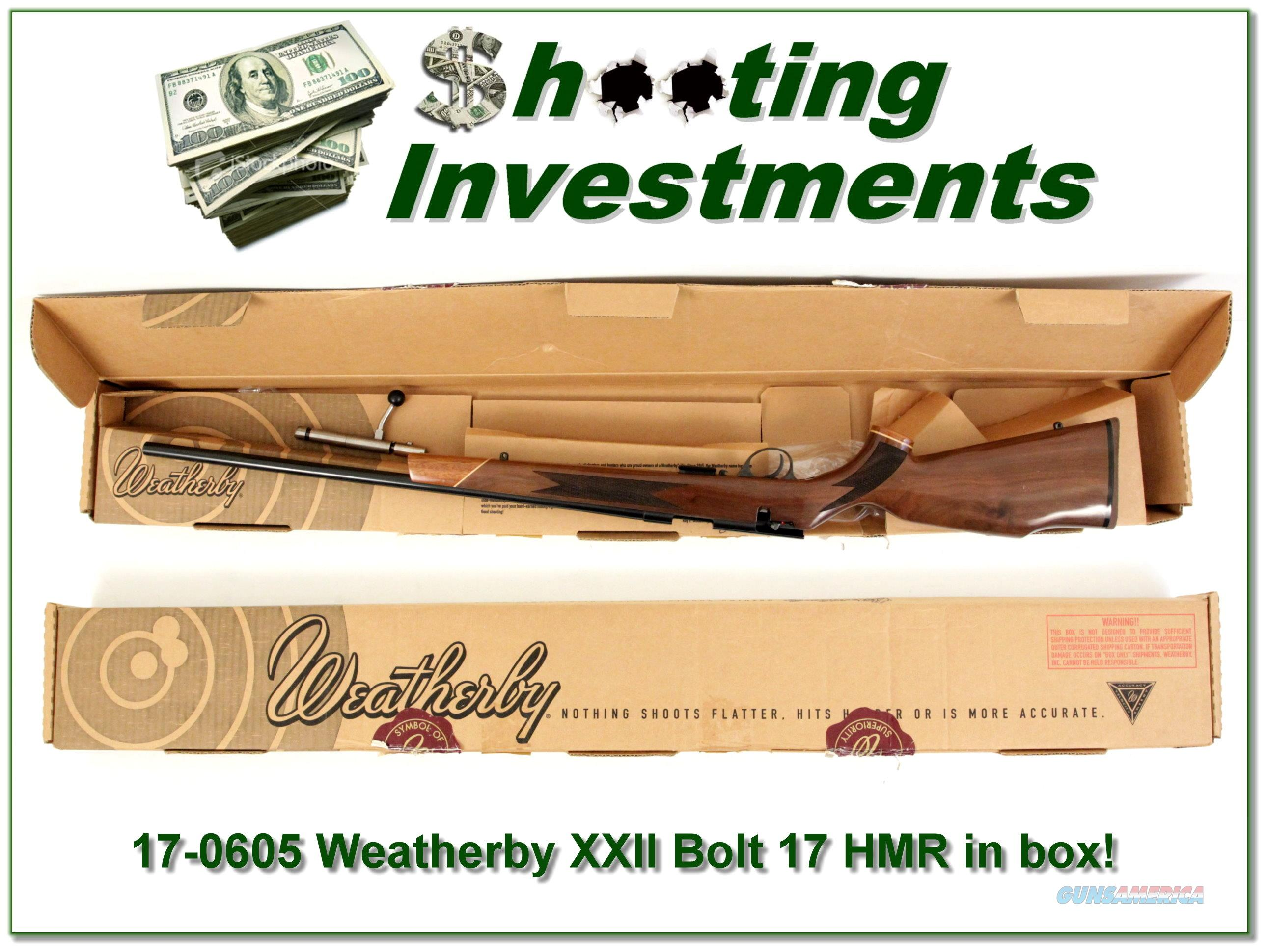 Weatherby XXII 17 HMR Bolt action Anschutz ANIB  Guns > Rifles > Weatherby Rifles > Sporting