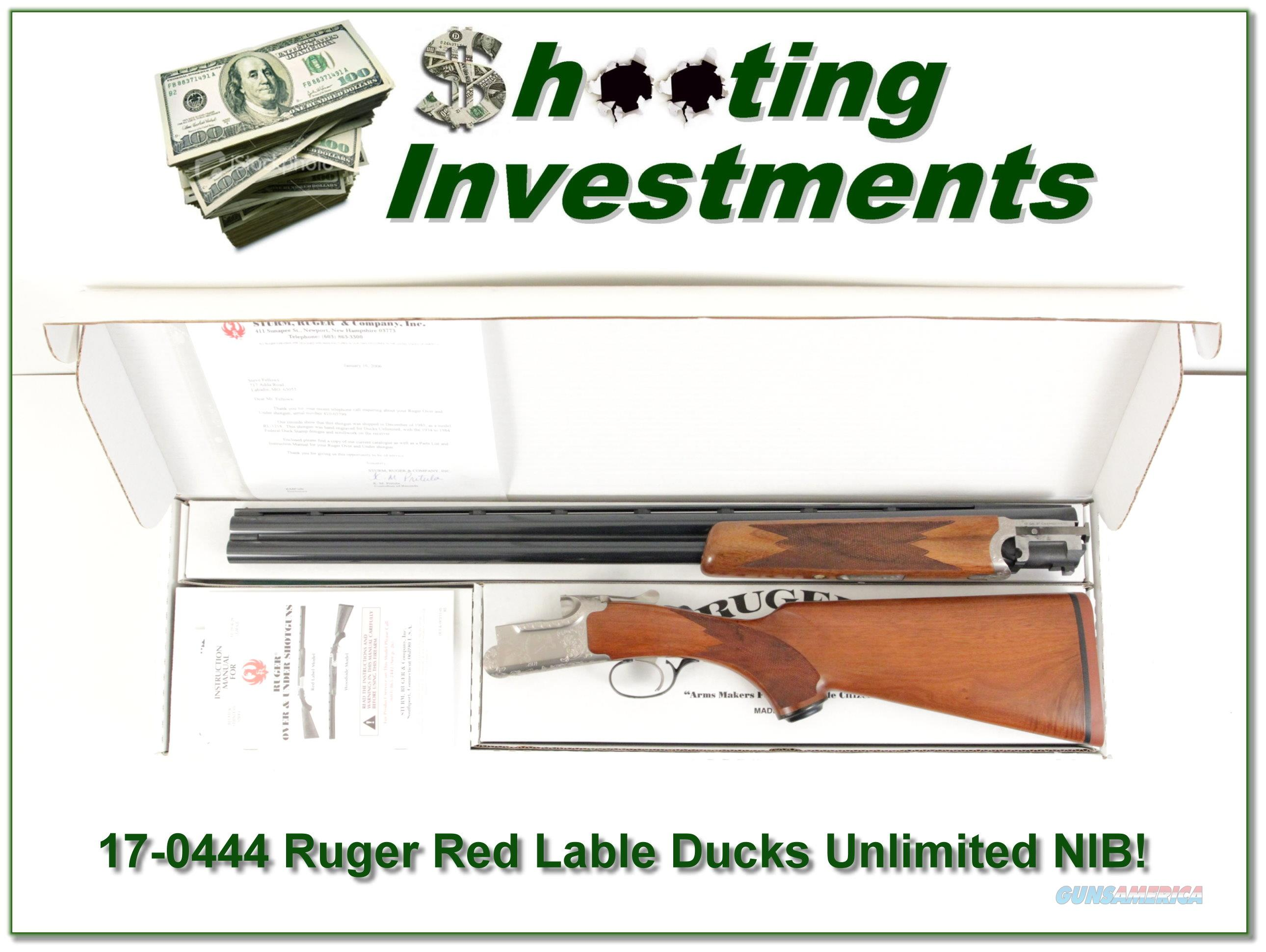 Ruger Red Label 12 Ga Ducks Unlimited hand engraved NIB!  Guns > Shotguns > Ruger Shotguns > Hunting