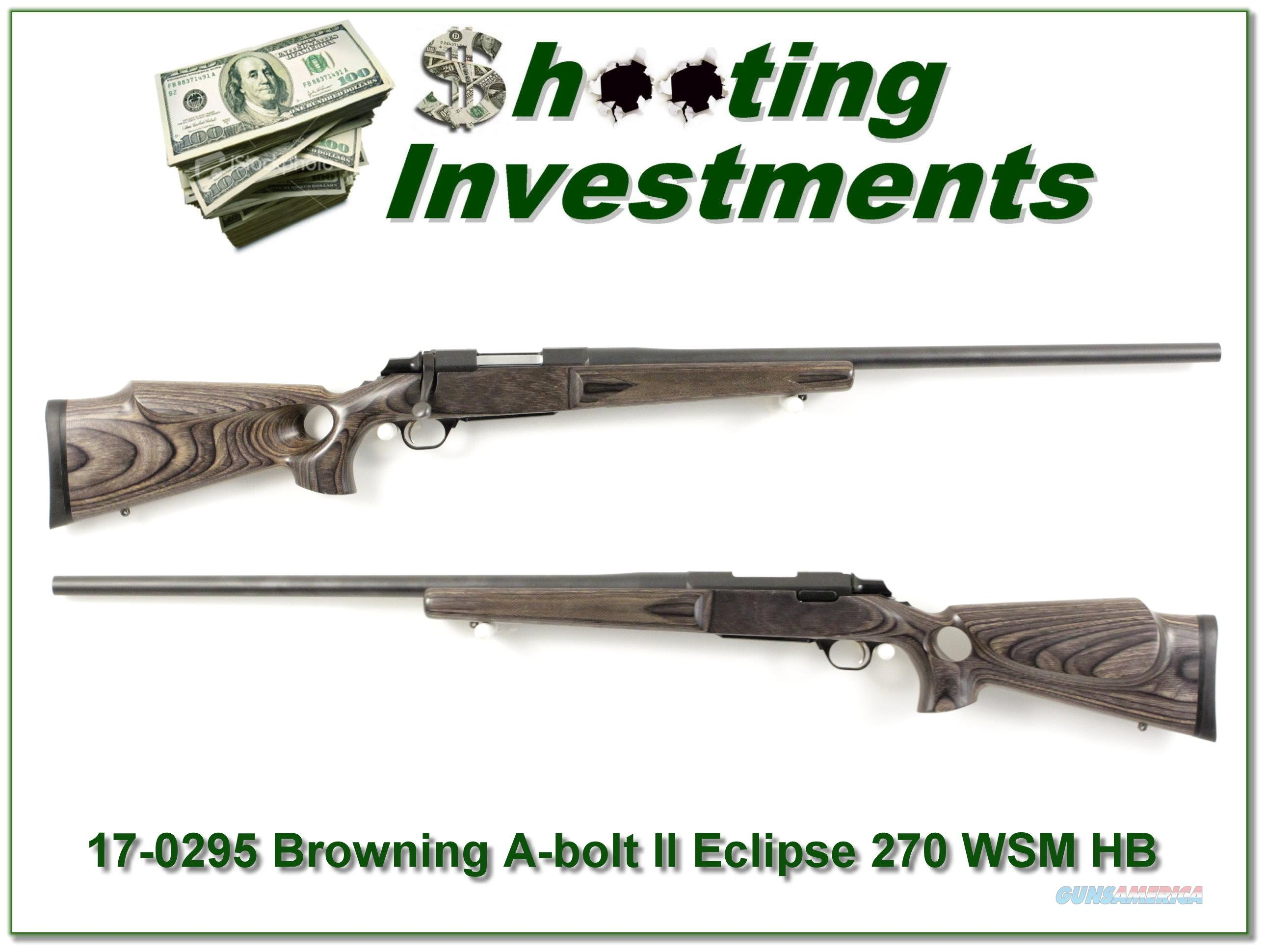 Browning A-bolt Eclipse Laminated 270 WSM HB  Guns > Rifles > Browning Rifles > Bolt Action > Hunting > Blue