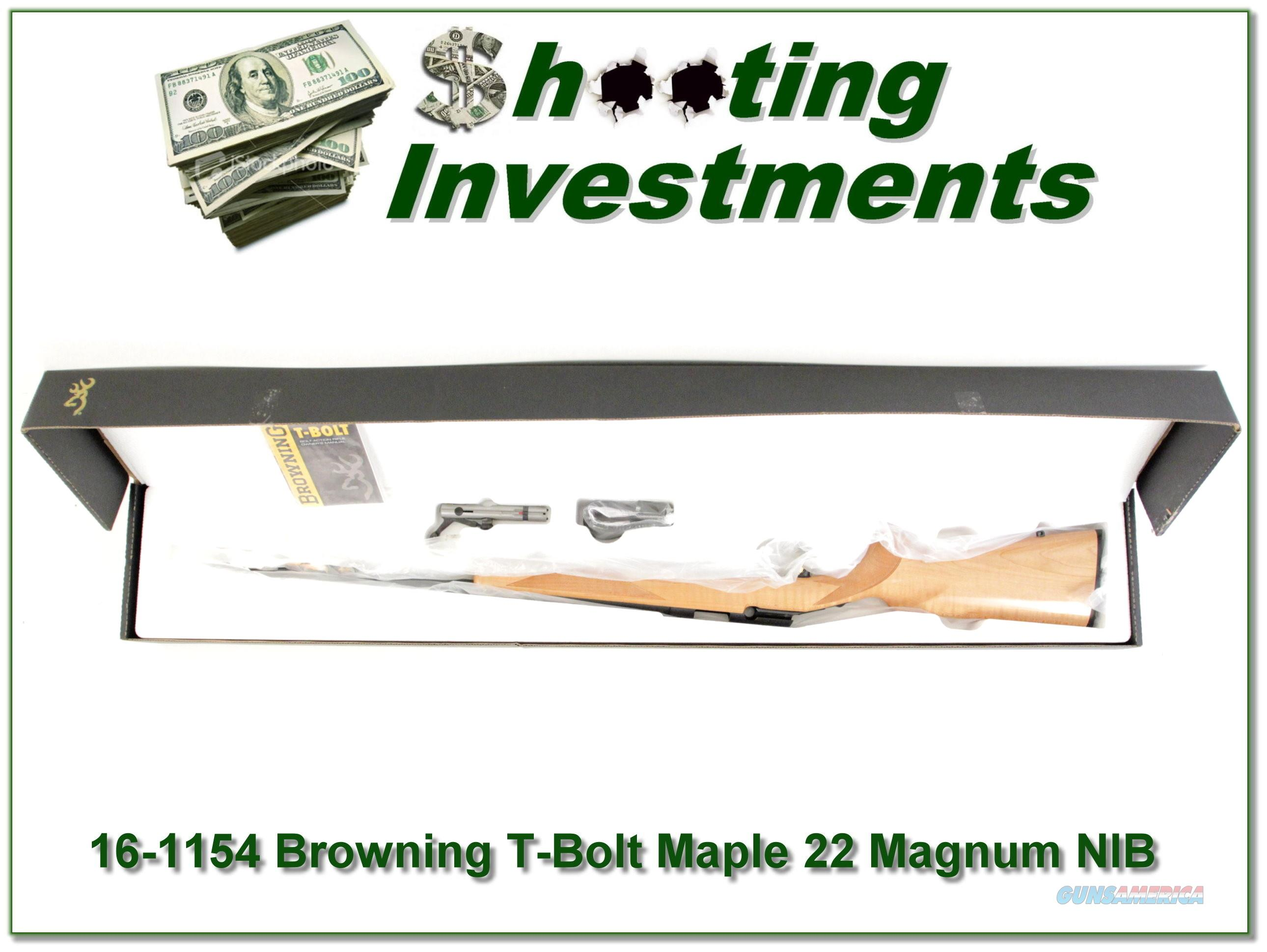 Browning T-bolt 22 Magnum Limited Run Maple Stock NIB  Guns > Rifles > Browning Rifles > Bolt Action > Hunting > Blue