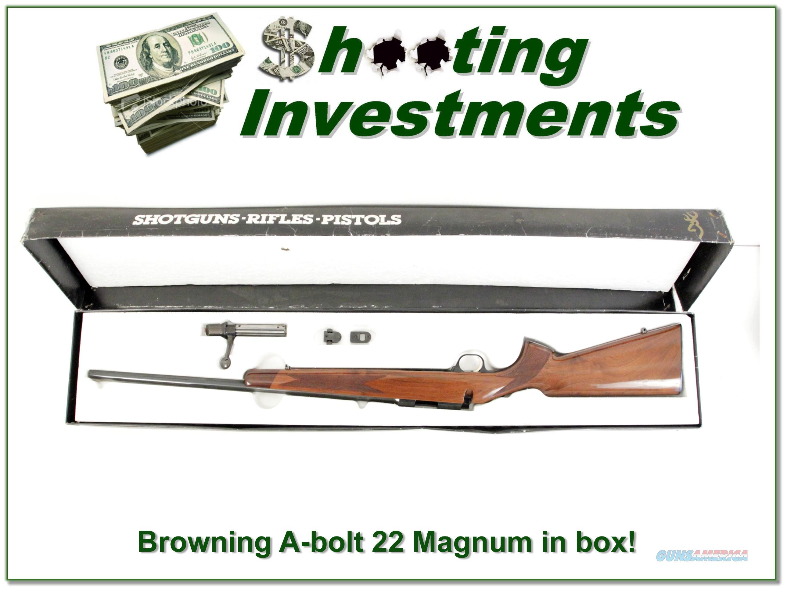 Browning A-bolt 22 Magnum in box!  Guns > Rifles > Browning Rifles > Bolt Action > Hunting > Blue