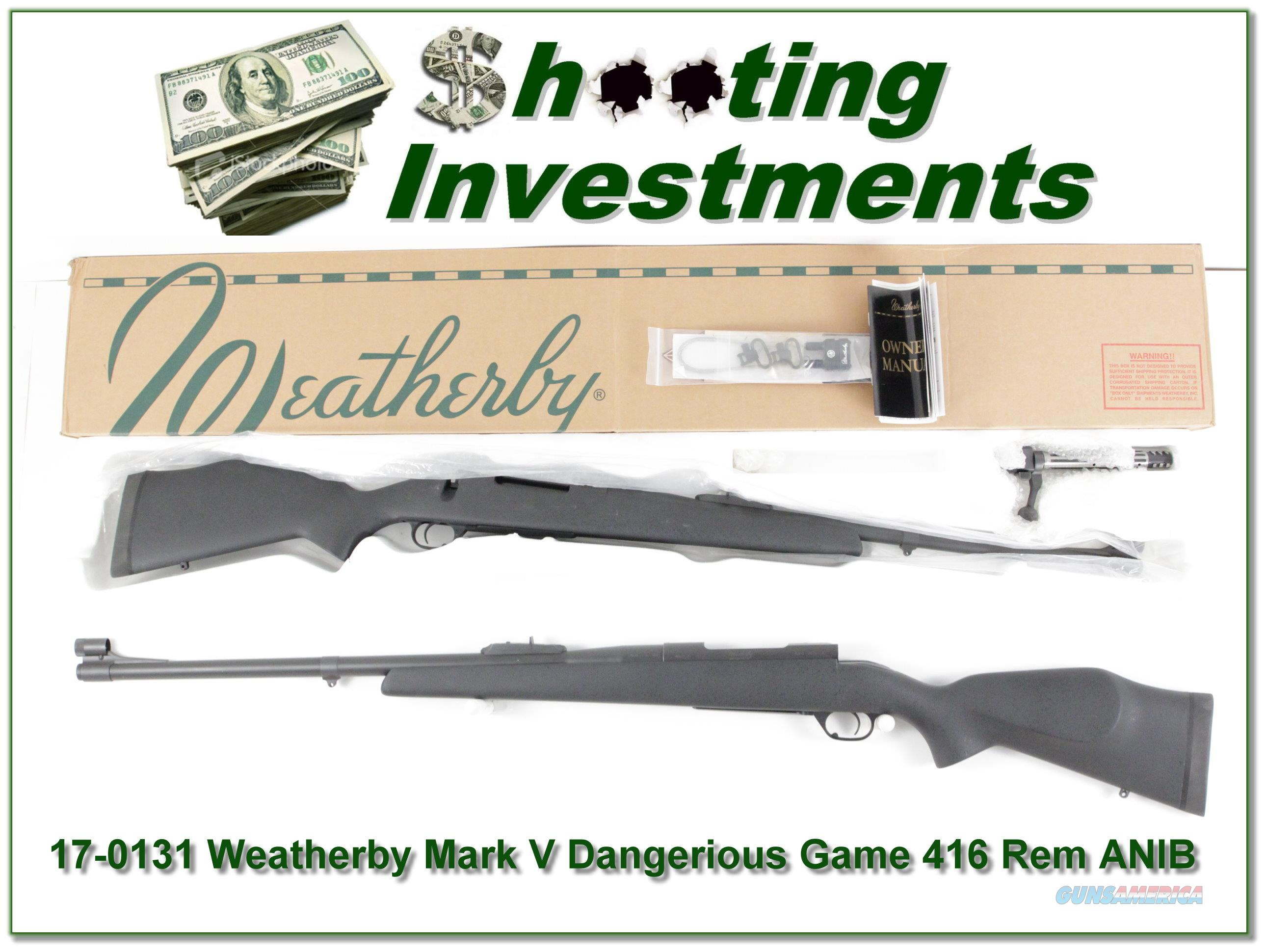 WEATHERBY Mark V Dangerous Game 416 Rem Mag in box  Guns > Rifles > Weatherby Rifles > Sporting