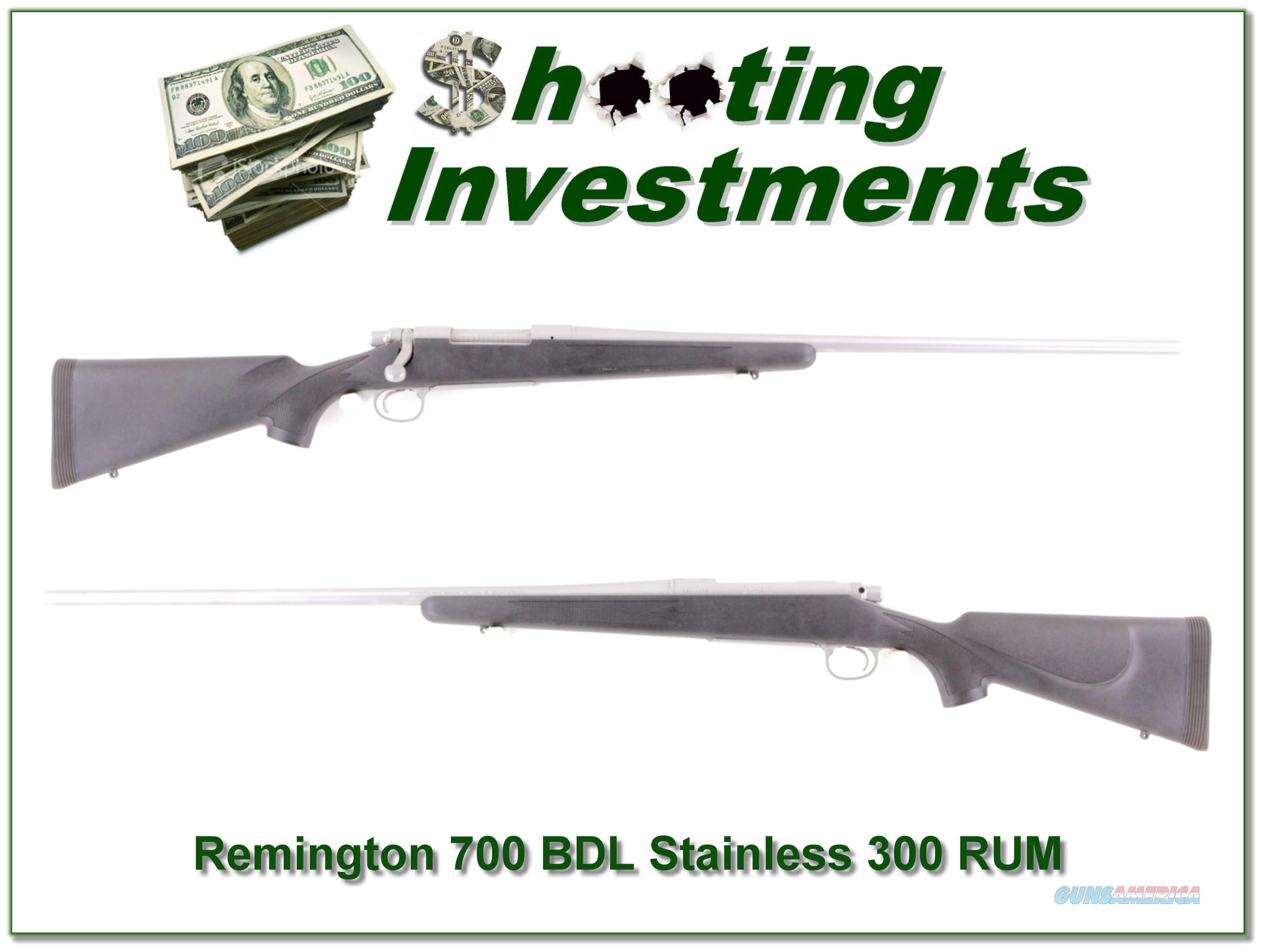 Remington 700 BDL Stainless 300 RUM  Guns > Rifles > Remington Rifles - Modern > Model 700 > Sporting