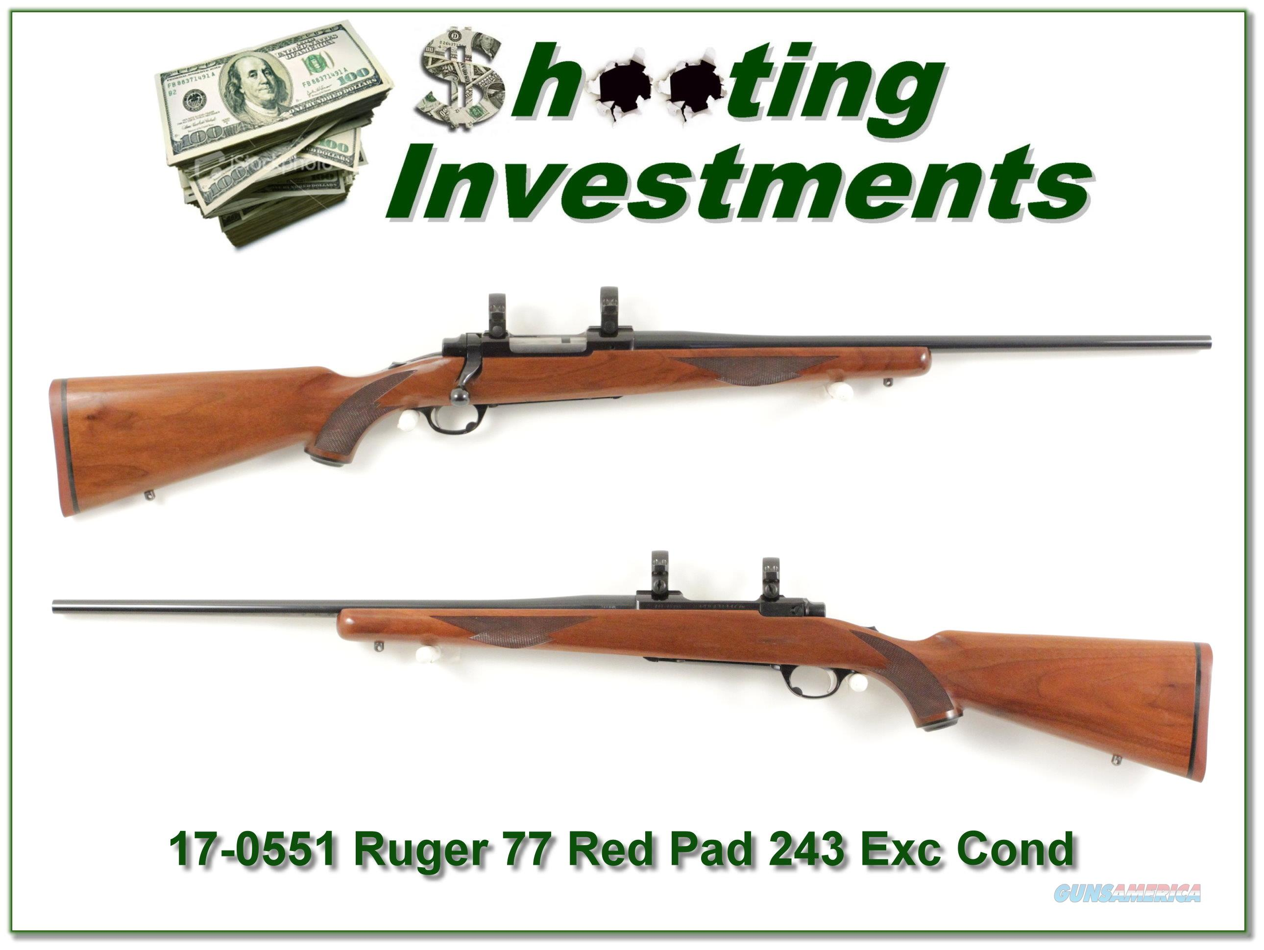 Ruger 77 243 Tang Safety Red Pad Exc Cond!  Guns > Rifles > Ruger Rifles > Model 77