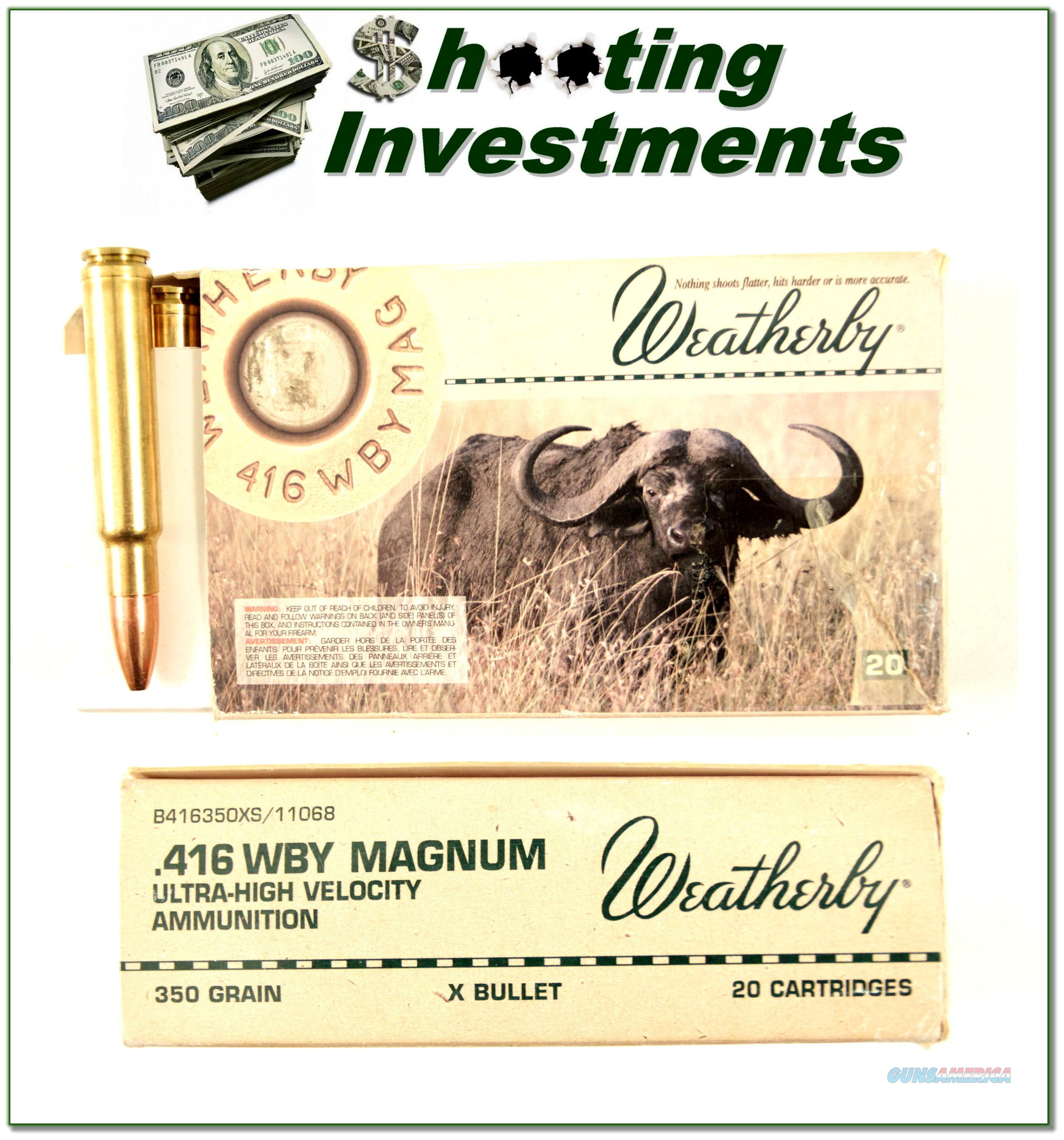 Weatherby 416 Wthy Magnum factory ammo 350 Barnes X-bullet  Non-Guns > Ammunition