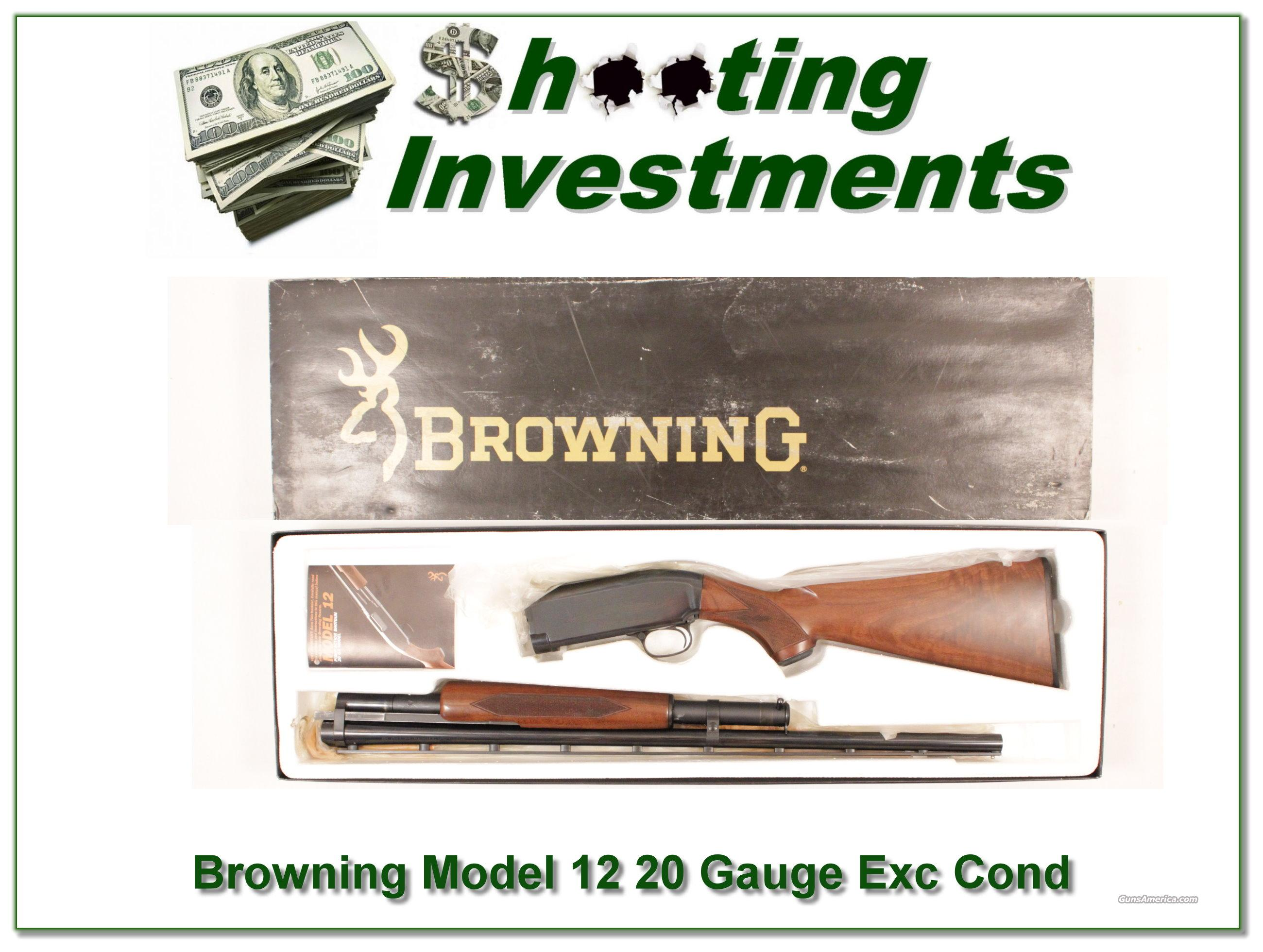 Browning Model 12 20 Gauge Exc Cond in box!  Guns > Shotguns > Browning Shotguns > Pump Action > Hunting