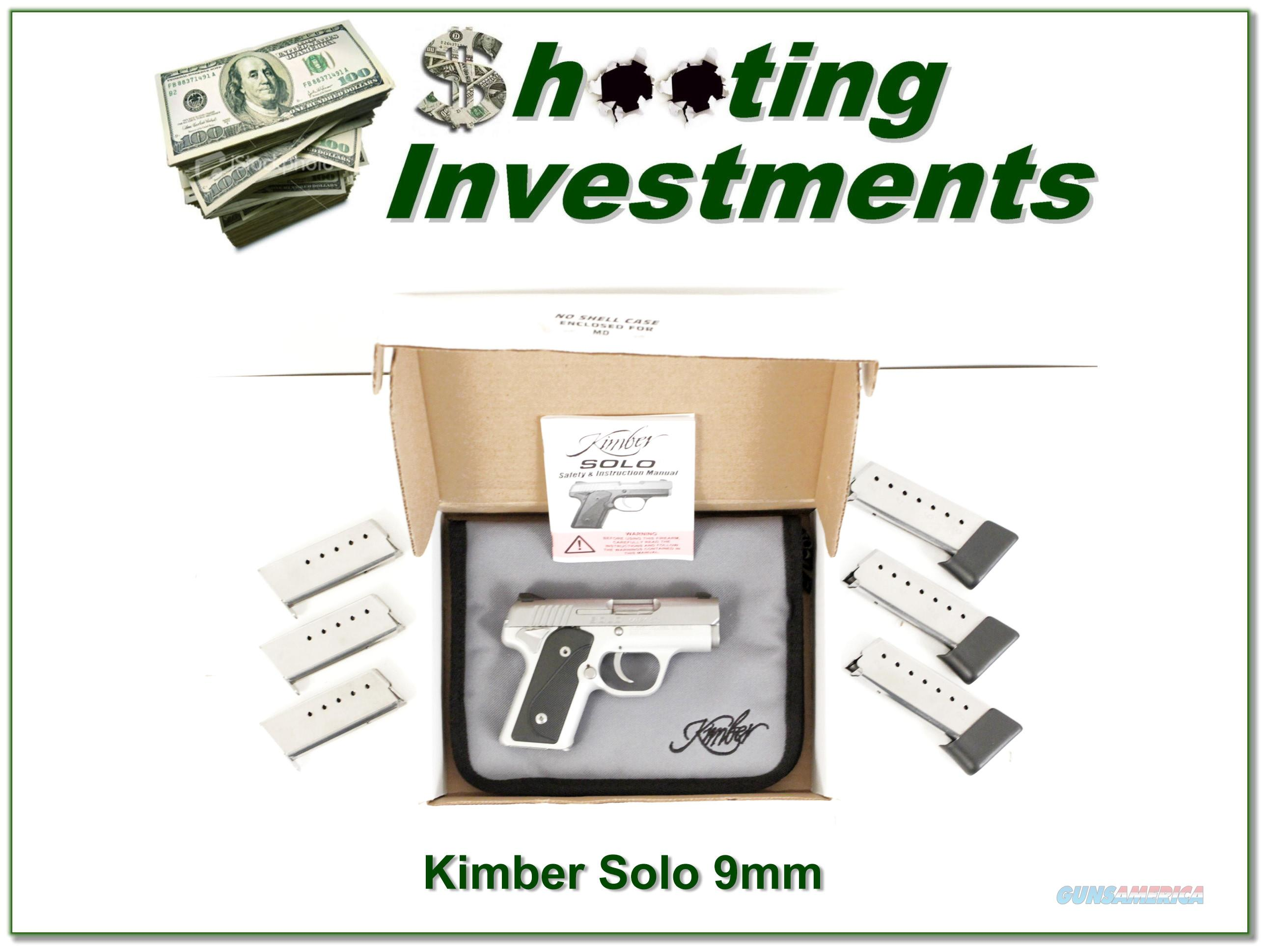 Kimber Solo 9mm Stainless ANIB with 7 magazines!  Guns > Pistols > Kimber of America Pistols > Micro