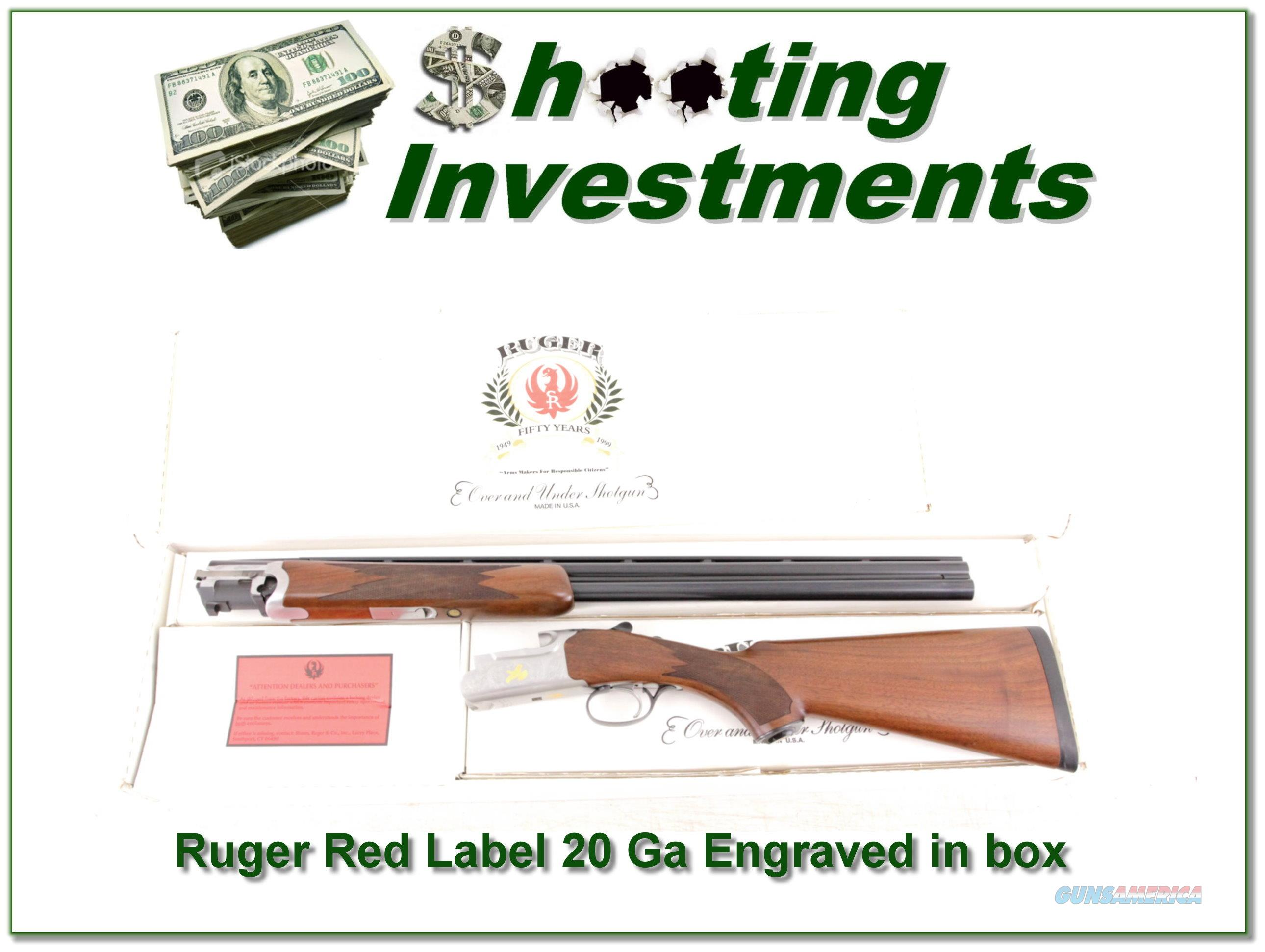 Ruger Red Label 20 Gauge engraved in box!  Guns > Shotguns > Ruger Shotguns > Hunting