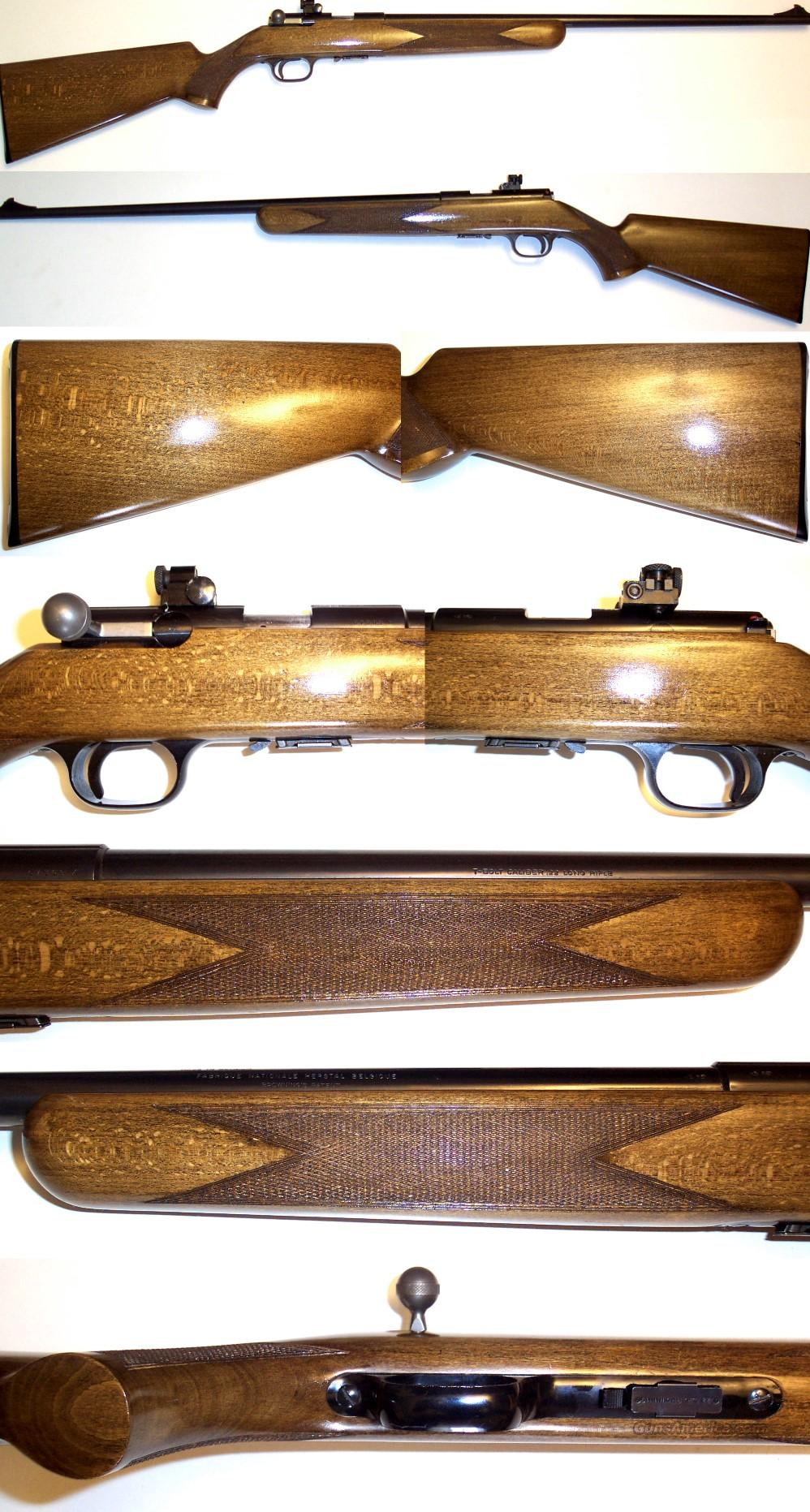 Belgium Browning T-bolt EXC Cond w/ peep site  Guns > Rifles > Browning Rifles > Bolt Action > Hunting > Blue