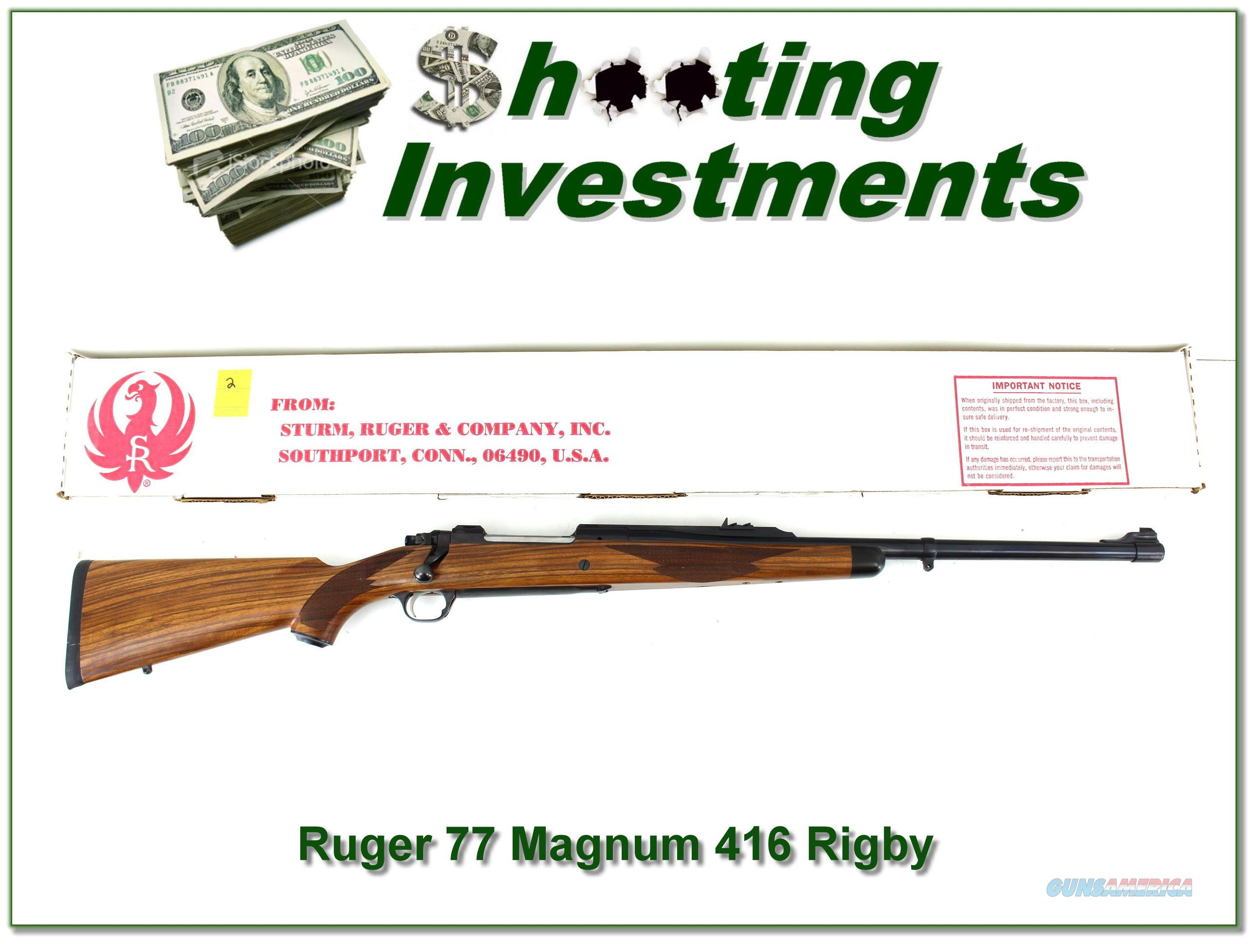 Ruger 77 RSM 416 Rigby Safari in box!  Guns > Rifles > Ruger Rifles > Model 77