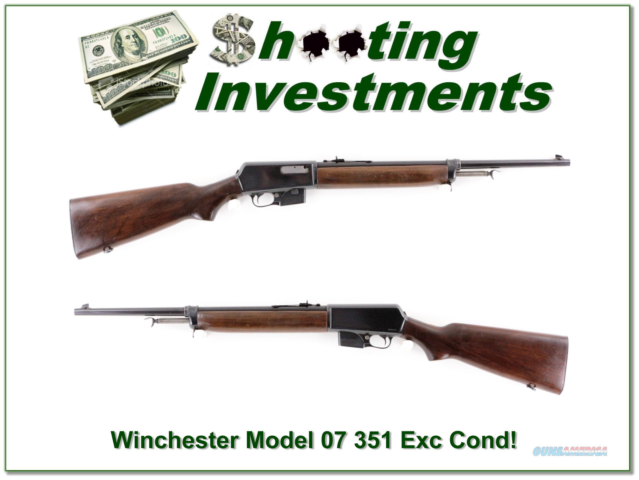 Winchester Model 1907 07 351 Caliber collector made in 1956!  Guns > Rifles > Winchester Rifles - Modern Bolt/Auto/Single > Autoloaders
