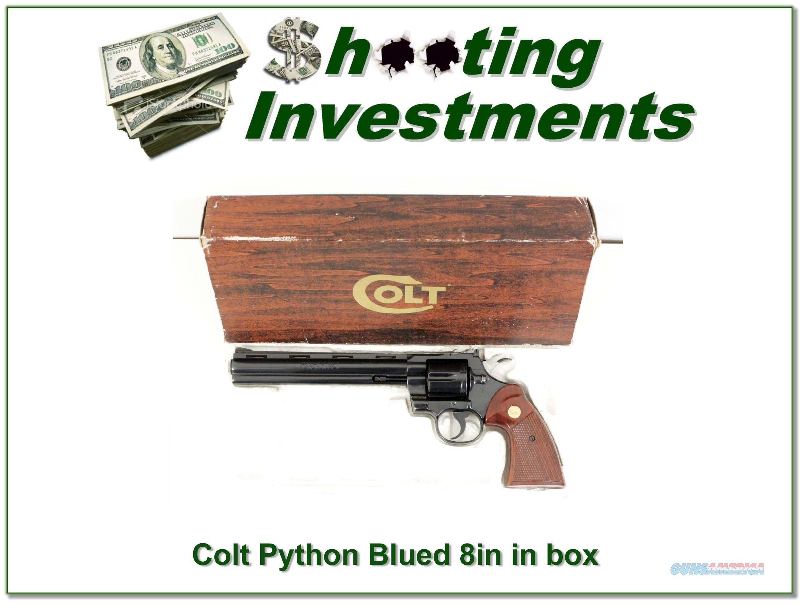 Colt Python 357 Mag 8in Blued in box!  Guns > Pistols > Colt Double Action Revolvers- Modern
