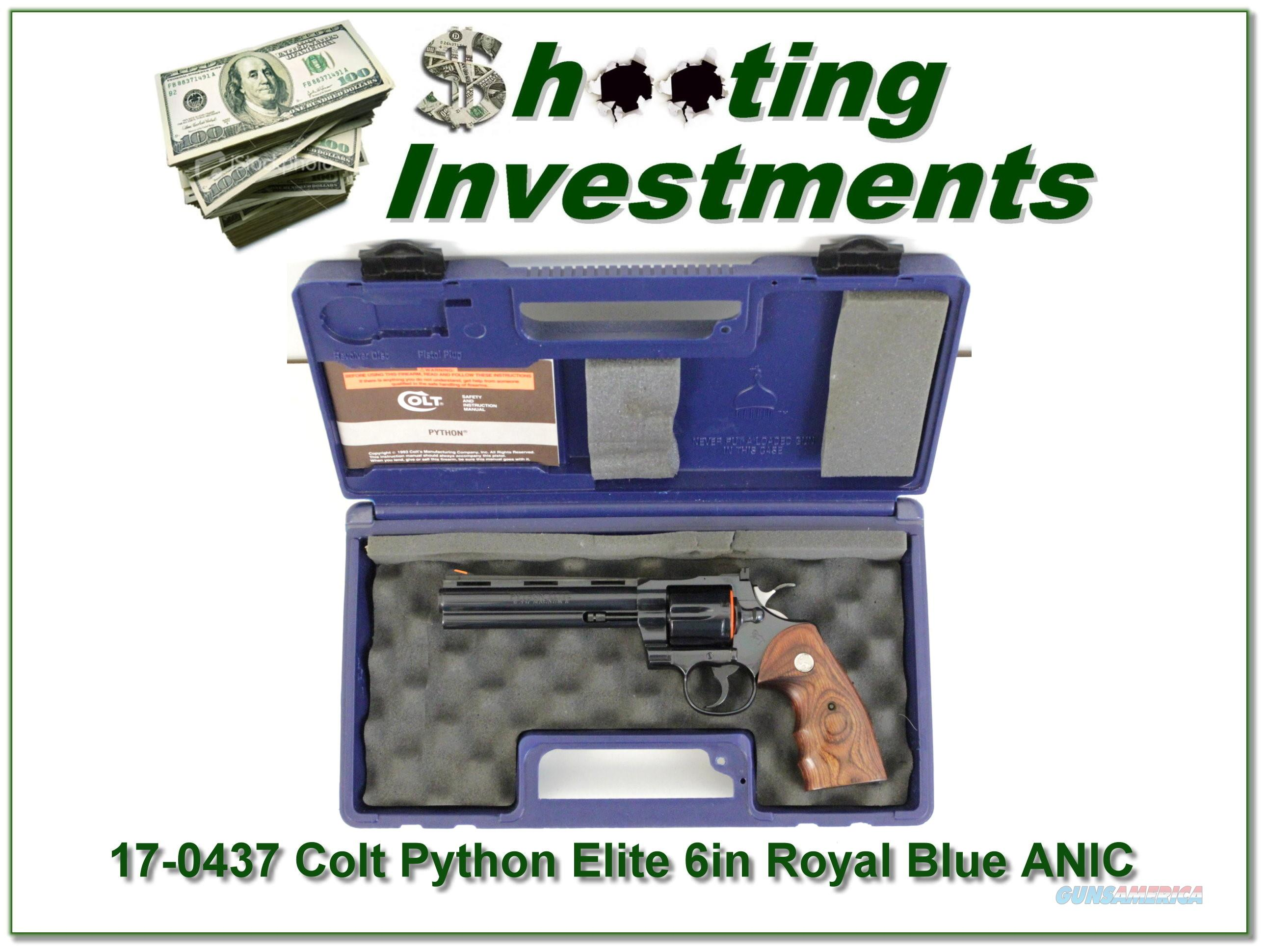 Colt Python Elite Custom Shop 6in Royal Blue NIC  Guns > Pistols > Collectible Revolvers