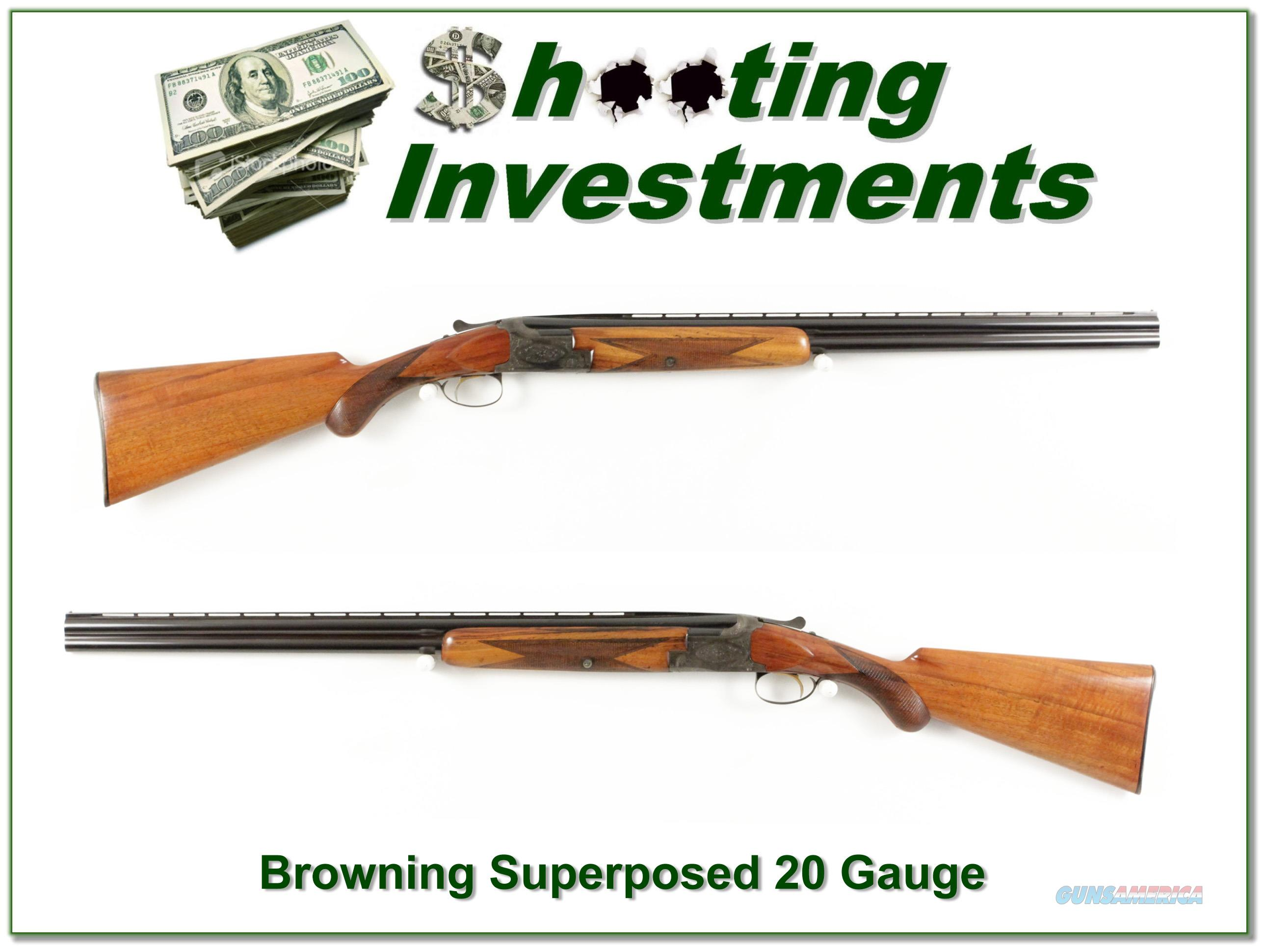 Browning Superposed 56 Belgium 20 Gauge 26.5in  Guns > Shotguns > Browning Shotguns > Over Unders > Belgian Manufacture
