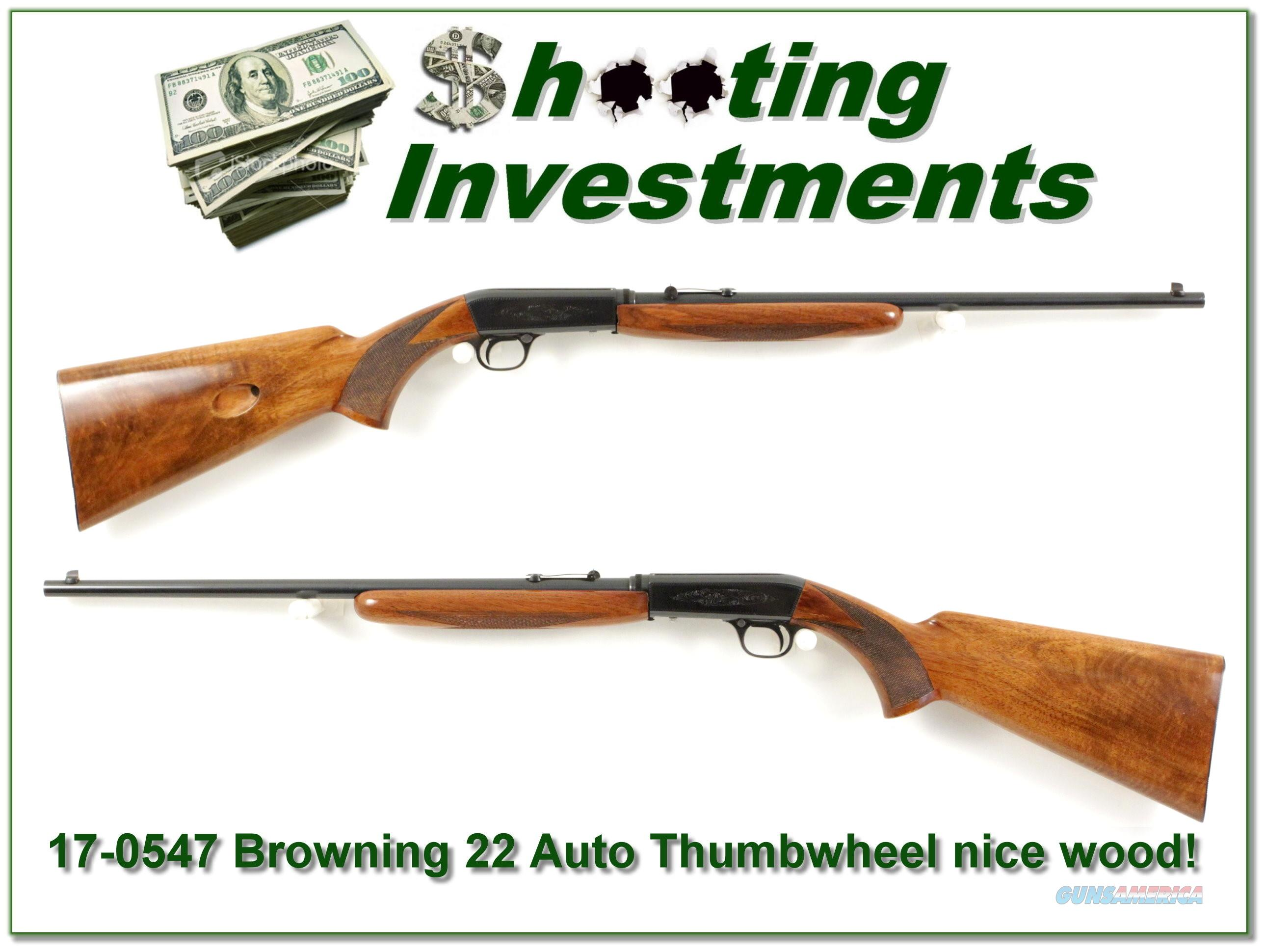 Browning 22 Thumbwheel 50's Belgium nice wood!  Guns > Rifles > Browning Rifles > Semi Auto > Hunting