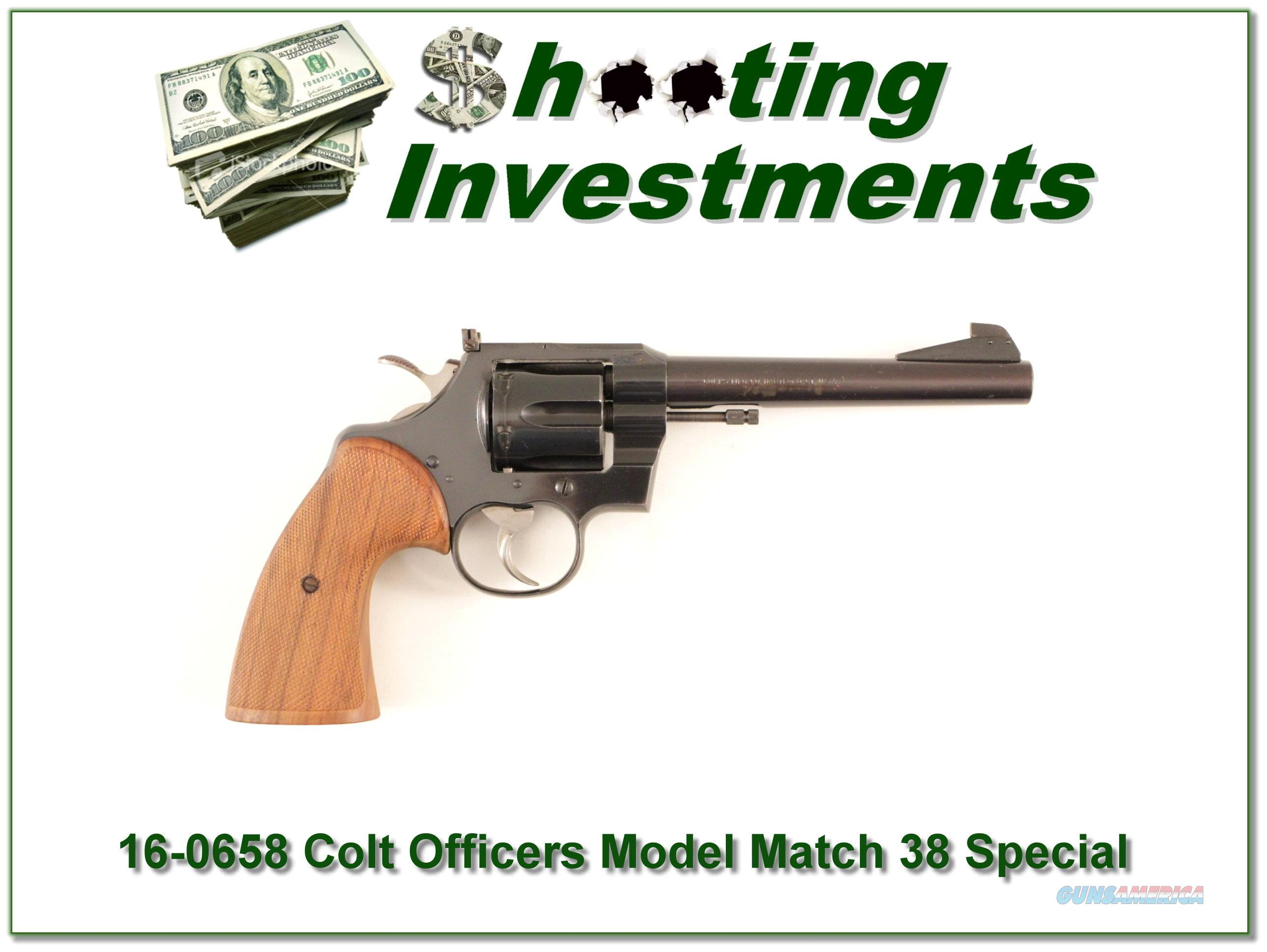 Colt Officers Model Match blued 6in in 38 Special  Guns > Pistols > Colt Double Action Revolvers- Modern