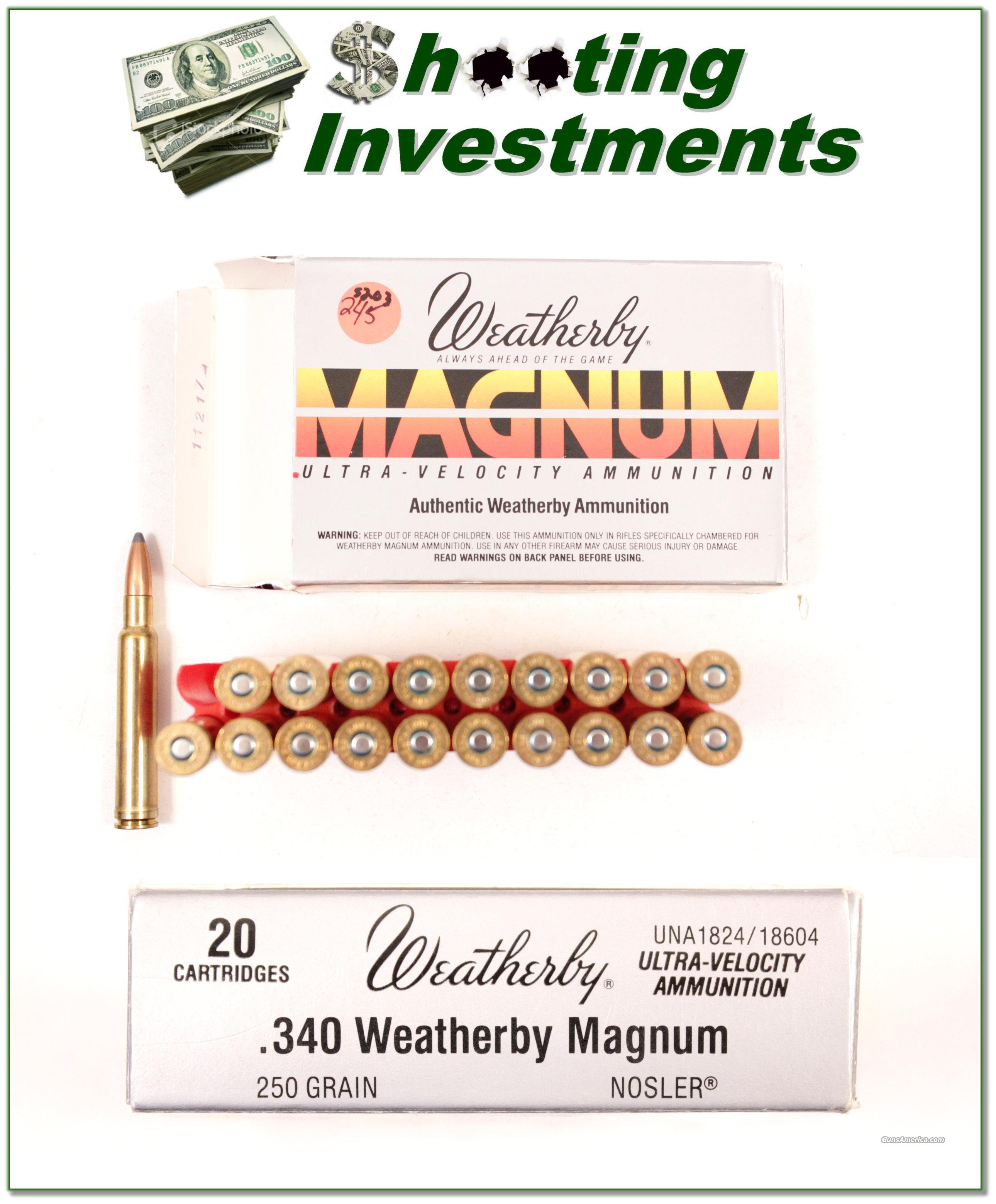 Weatherby 340 Weatherby Magnum factory box of 20 ammo  Non-Guns > Ammunition