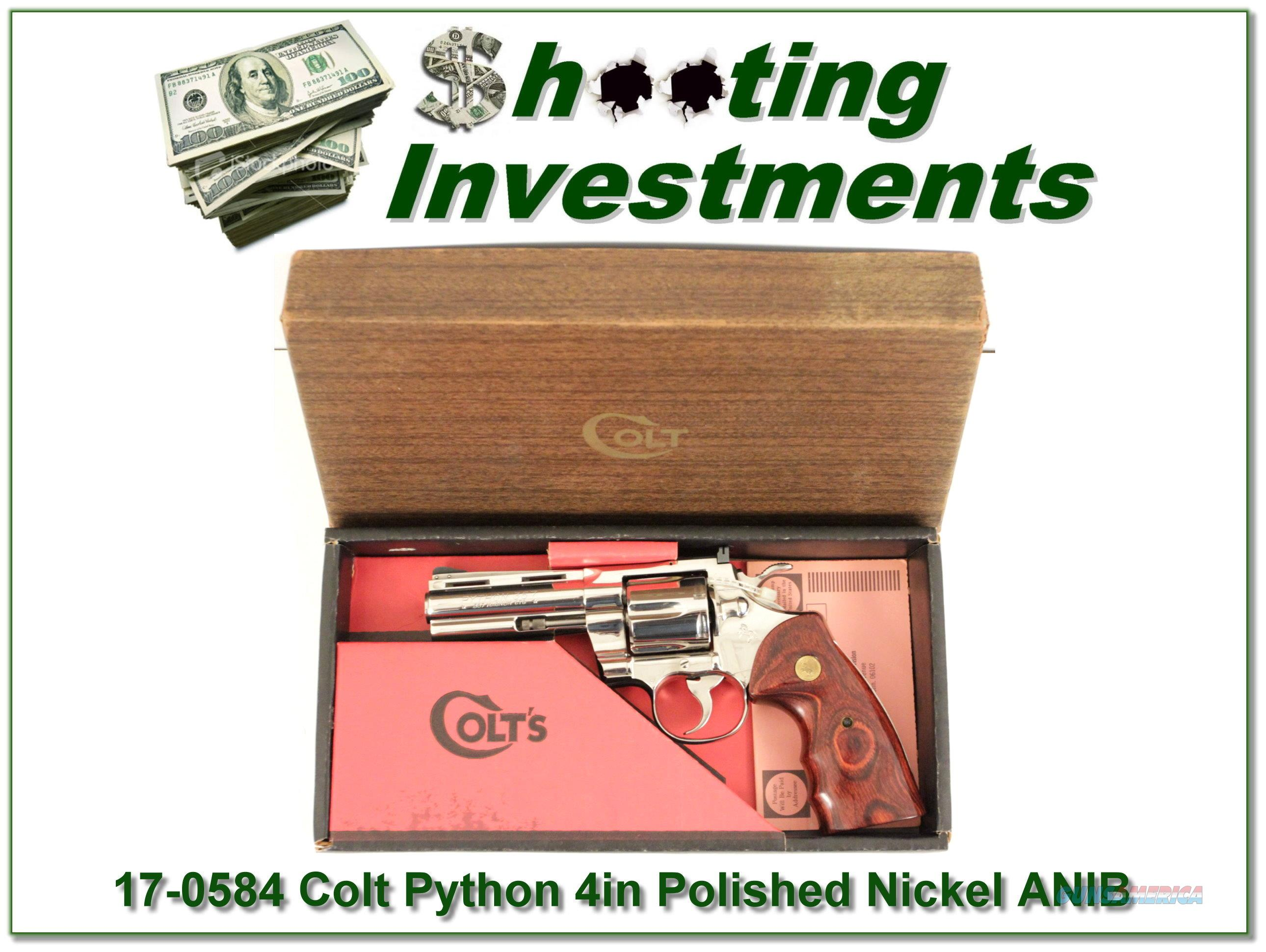 Colt Python 4in Polished Nickle 1976 in box!  Guns > Pistols > Colt Double Action Revolvers- Modern