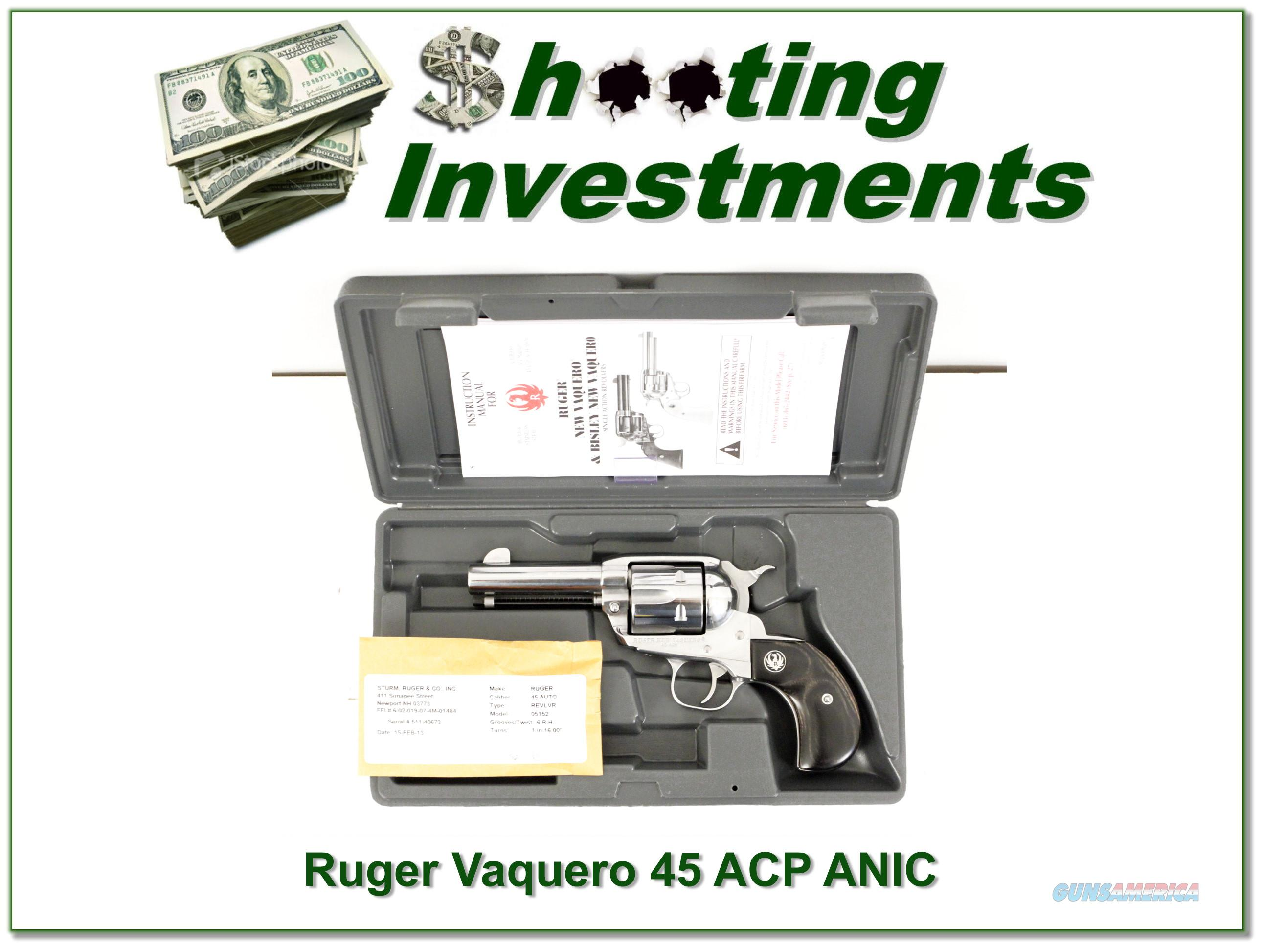 Ruger Vaquero Stainless 45 ACP NIC!  Guns > Pistols > Ruger Single Action Revolvers > Cowboy Action