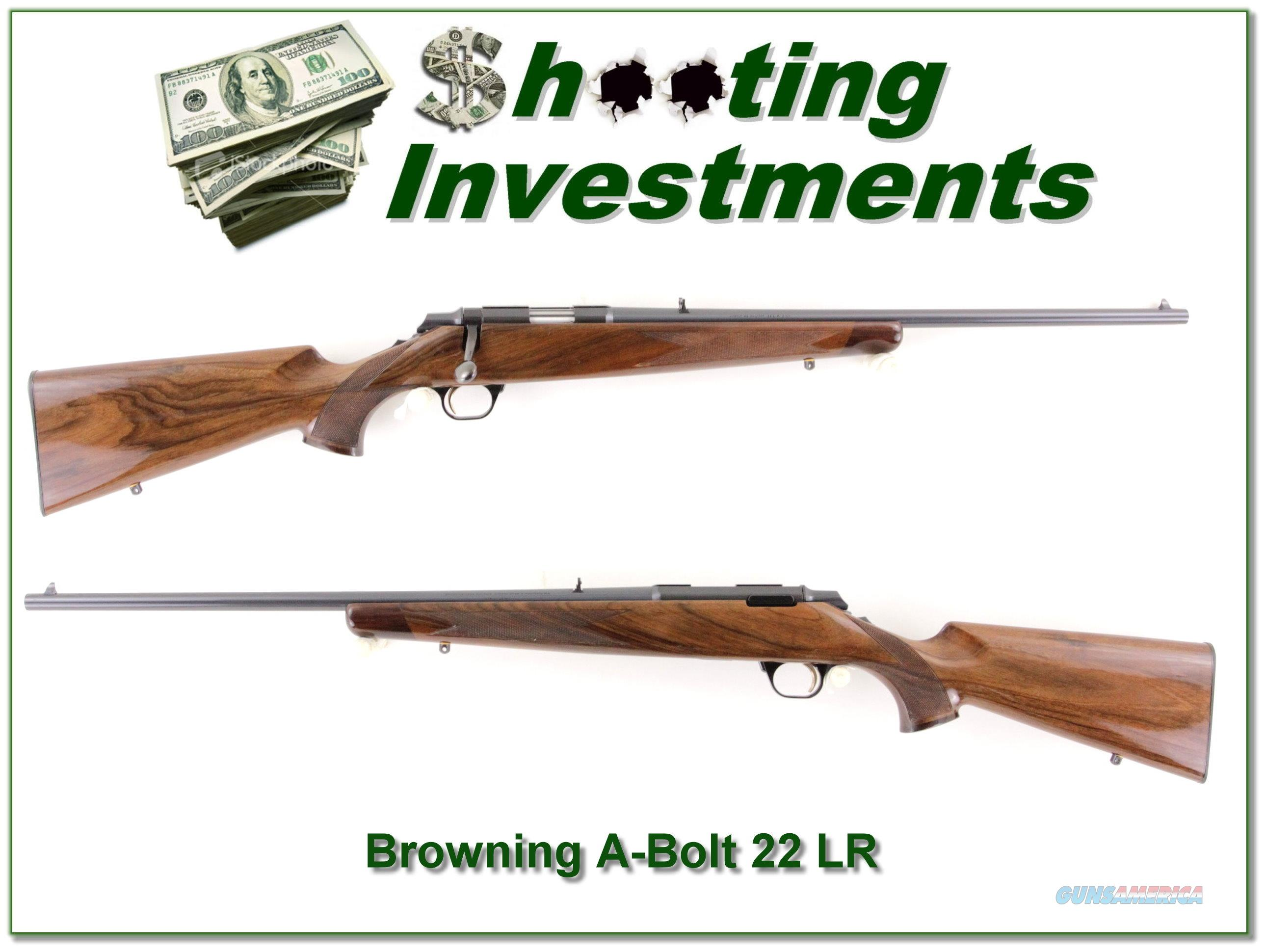 Browning A-Bolt 22LR Exc Cond!  Guns > Rifles > Browning Rifles > Bolt Action > Hunting > Blue