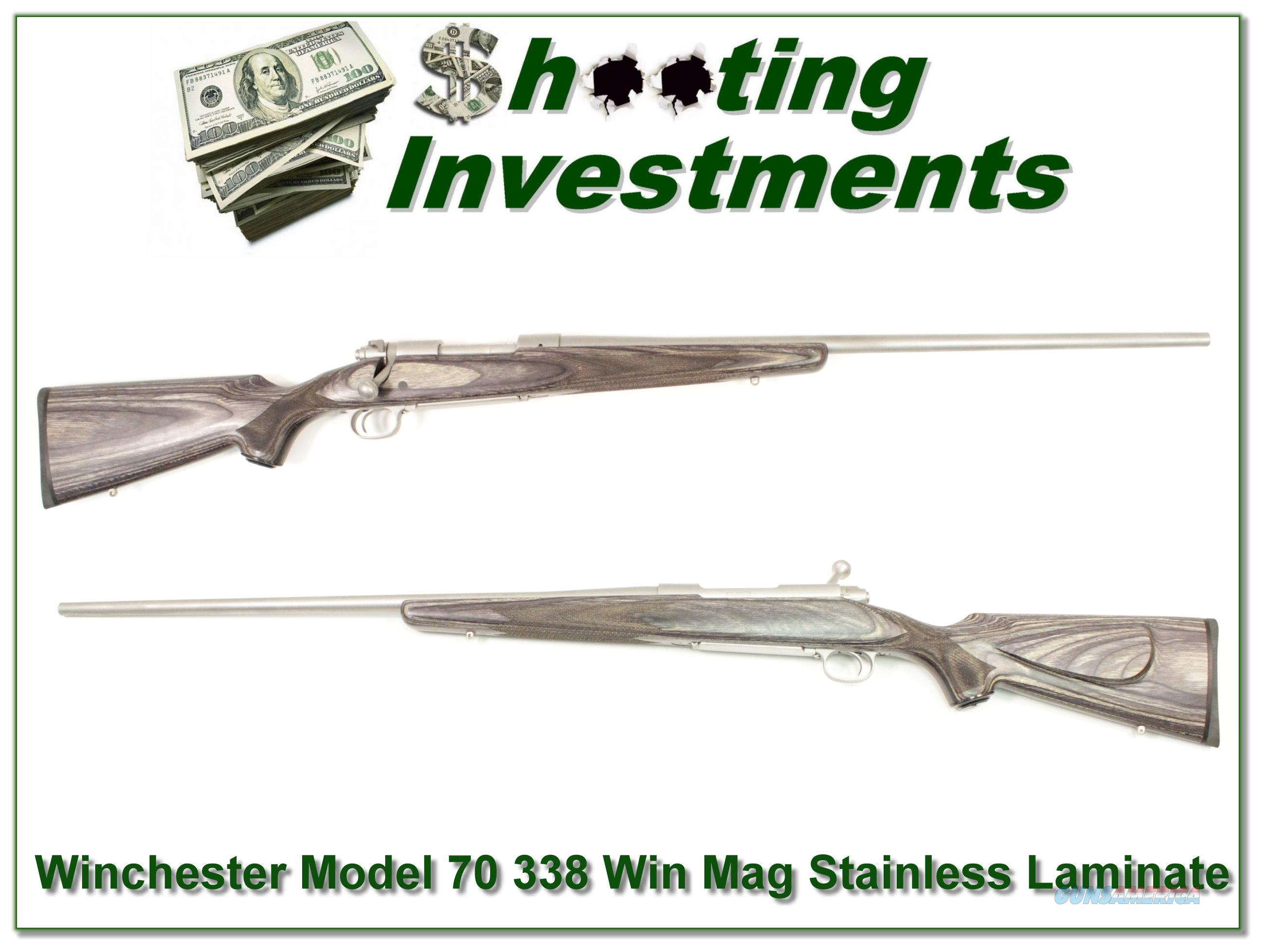Winchester Model 70 Stainless Laminate 338 Win Mag  Guns > Rifles > Winchester Rifles - Modern Bolt/Auto/Single > Other Bolt Action