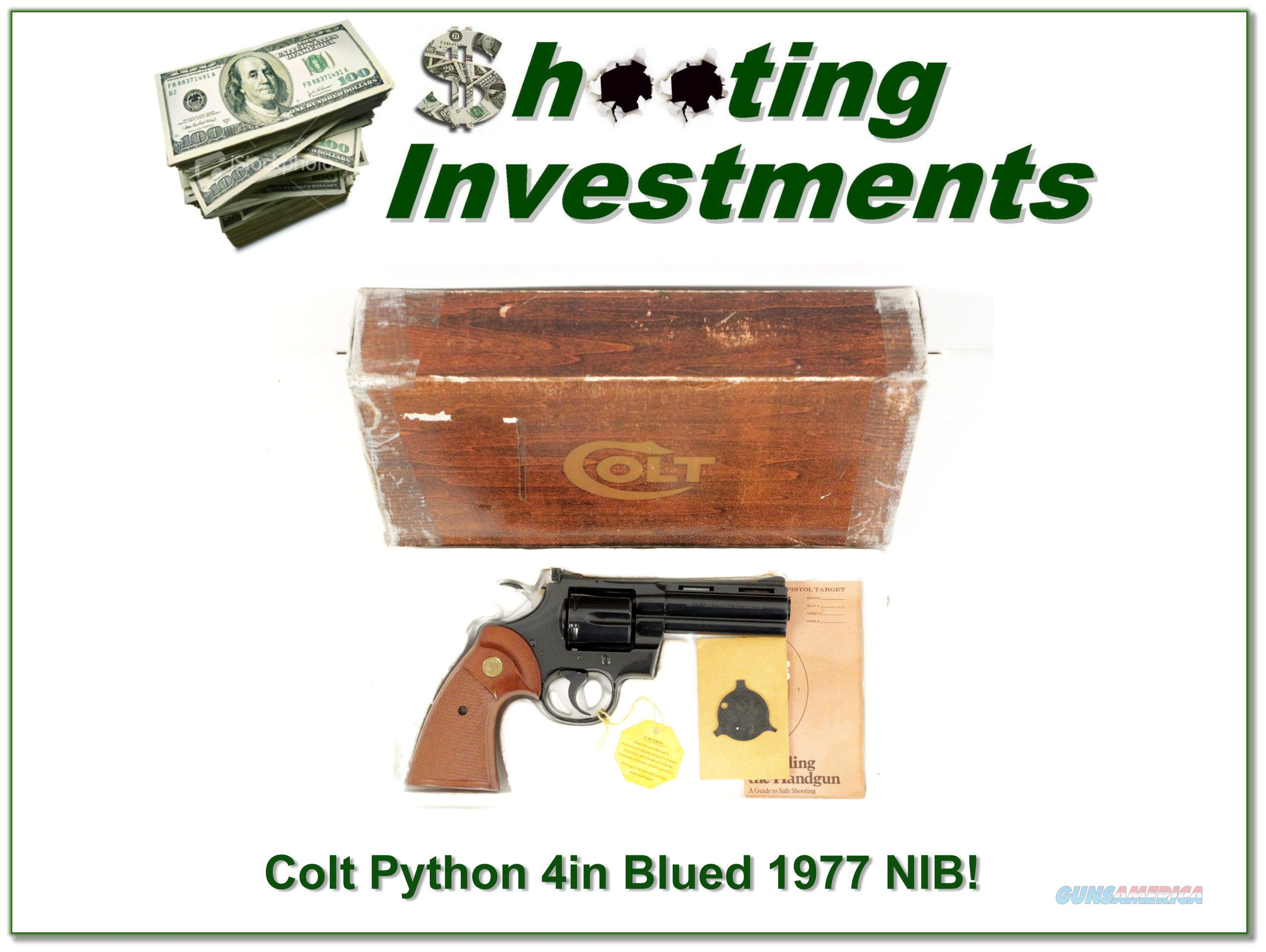 Colt Python 1977 4in Blue unfired in box!  Guns > Pistols > Colt Double Action Revolvers- Modern