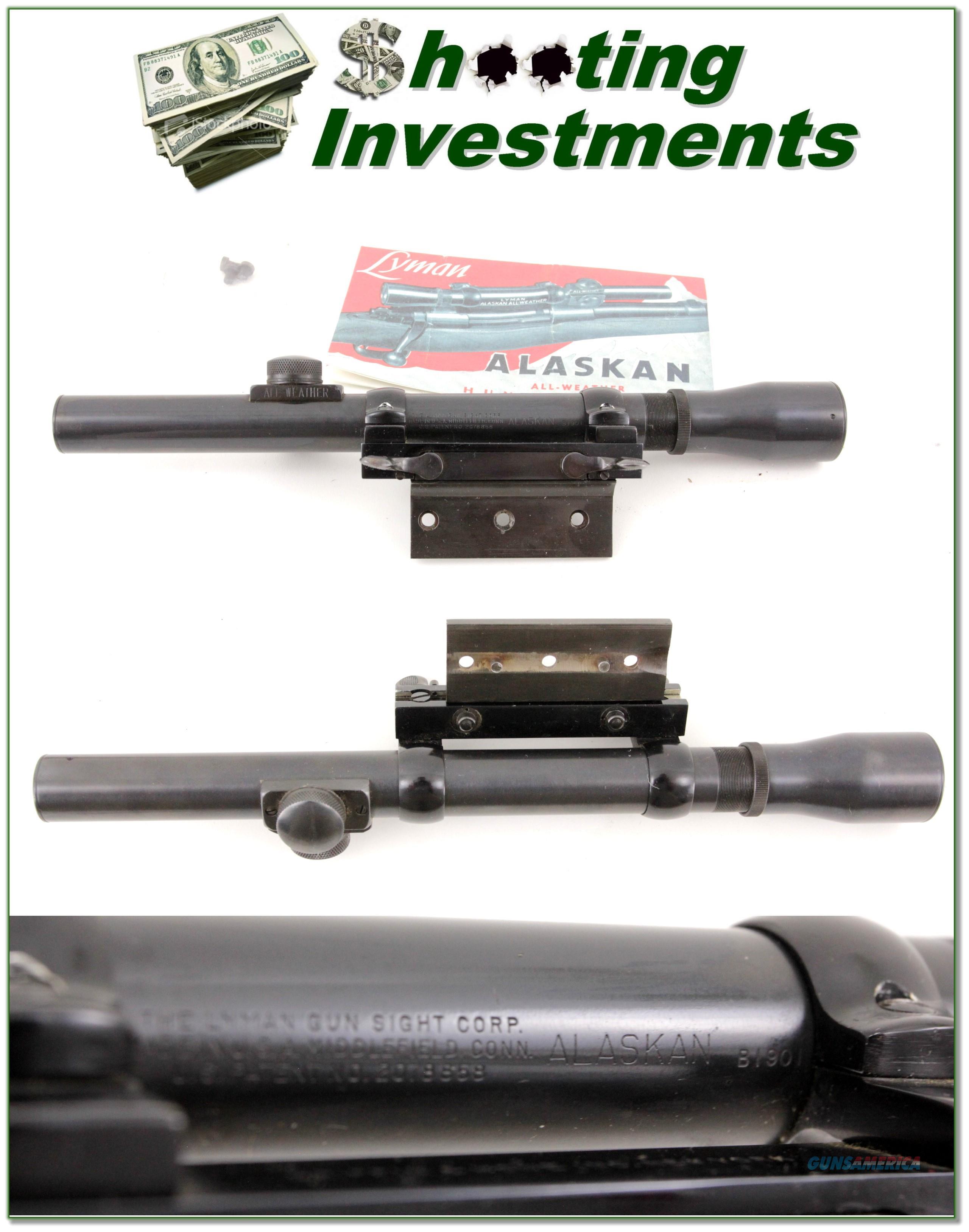 Lyman Alaskan 2 1/2X scope in Griffin & Howe mounts  Non-Guns > Scopes/Mounts/Rings & Optics > Rifle Scopes > Variable Focal Length