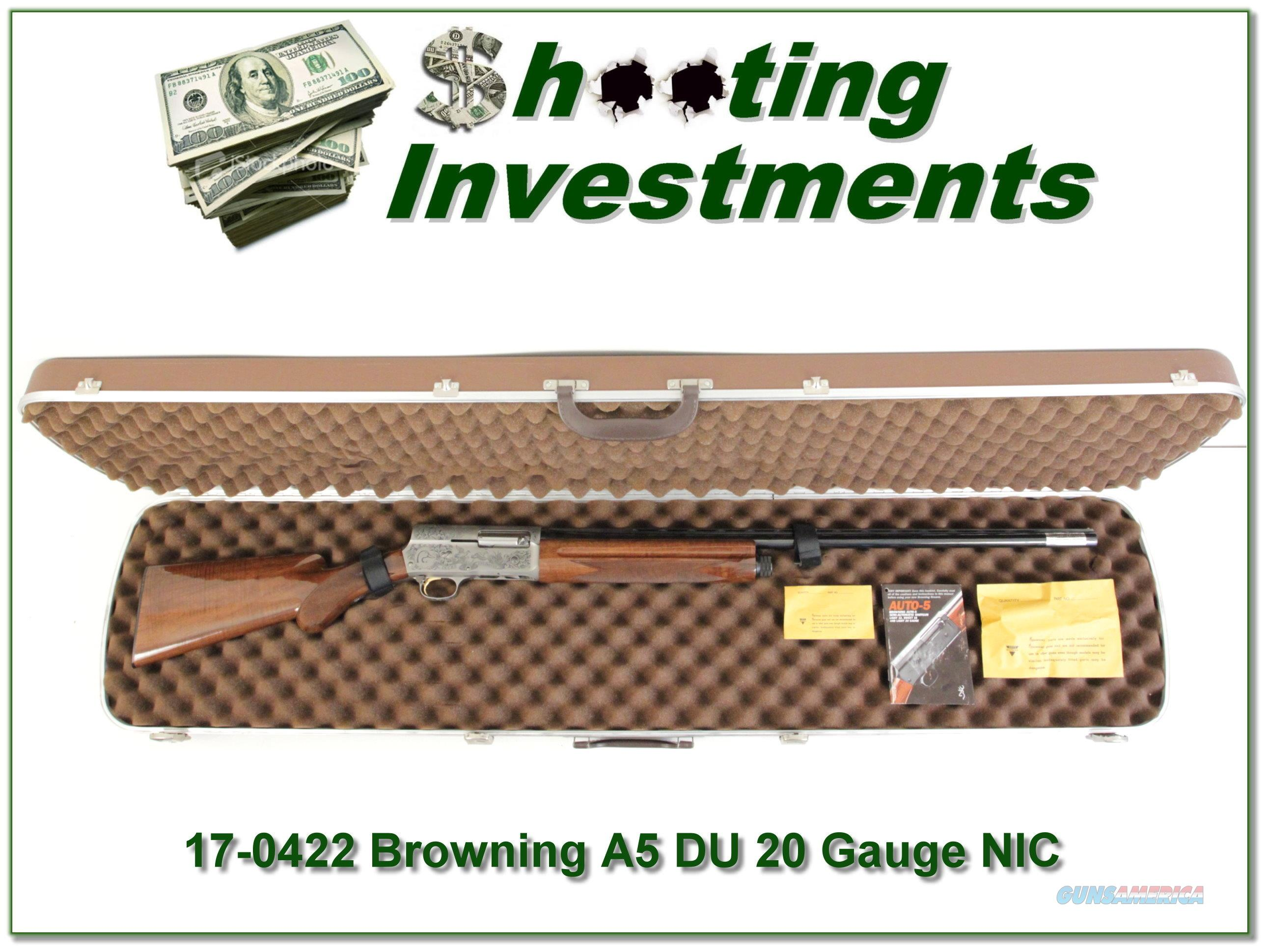 Browning A5 Ducks Unlimited 20 Gauge XX Wood NEW  Guns > Shotguns > Browning Shotguns > Autoloaders > Hunting