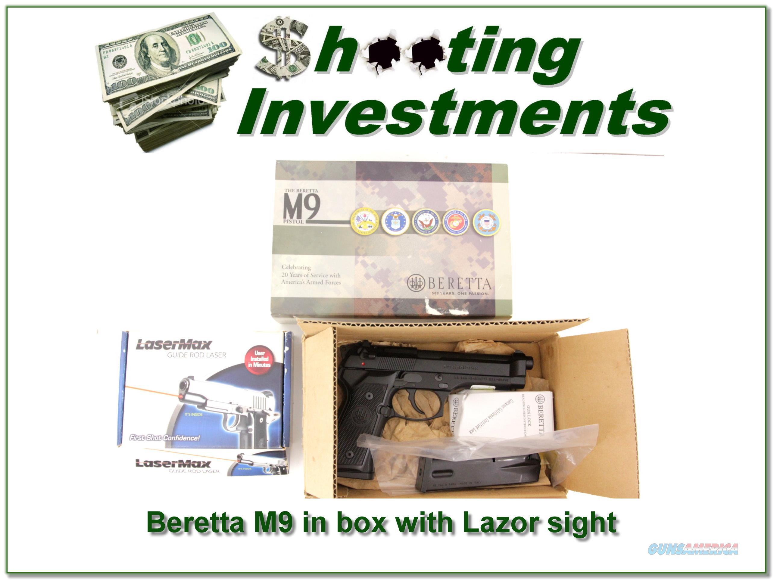 Beretta M9 in box with Lazor sight  Guns > Pistols > Beretta Pistols > M9