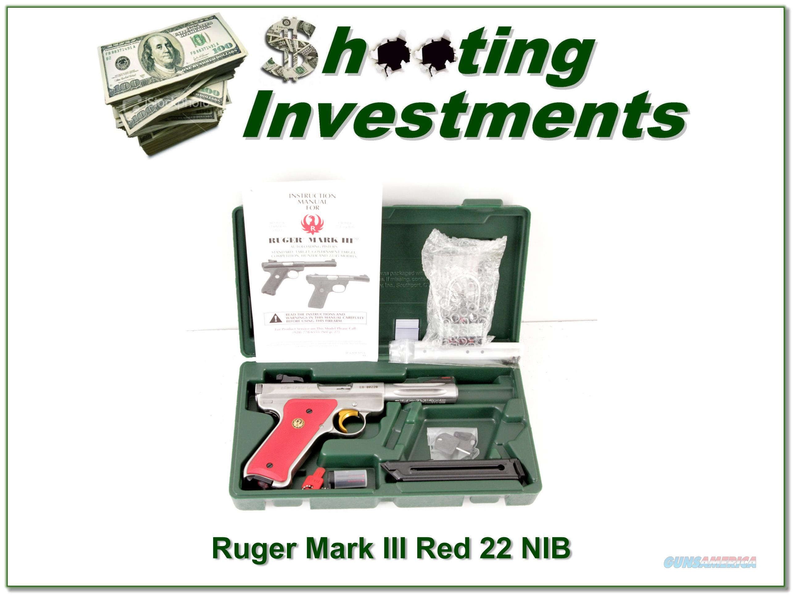 Ruger Mark III Hunter 4.5in RARE Red grips NIB!  Guns > Pistols > Ruger Semi-Auto Pistols > Mark I/II/III/IV Family